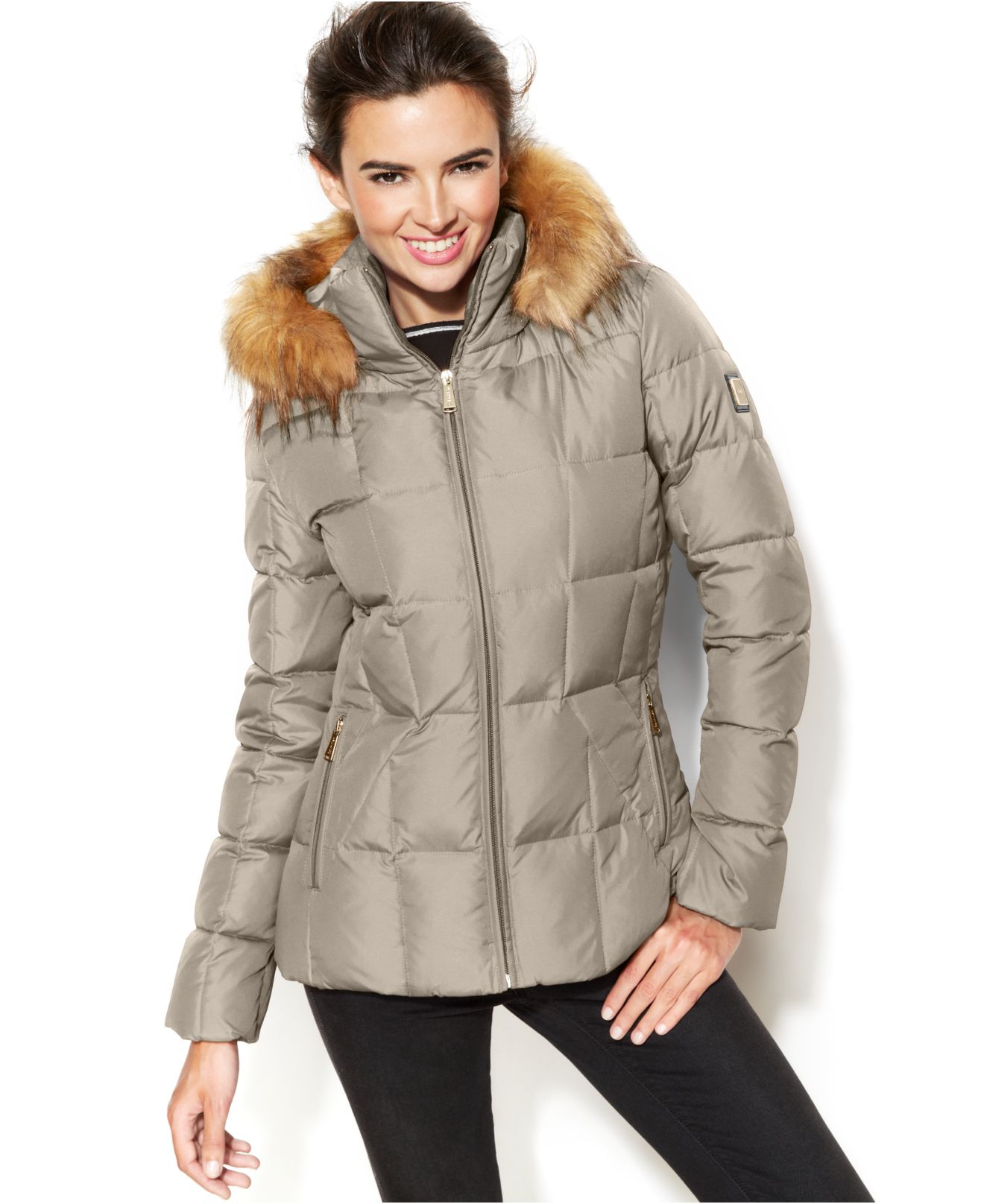 9e9ca25ceb59 Lyst - Calvin Klein Faux-Fur-Trim Hooded Puffer Down Coat in Natural