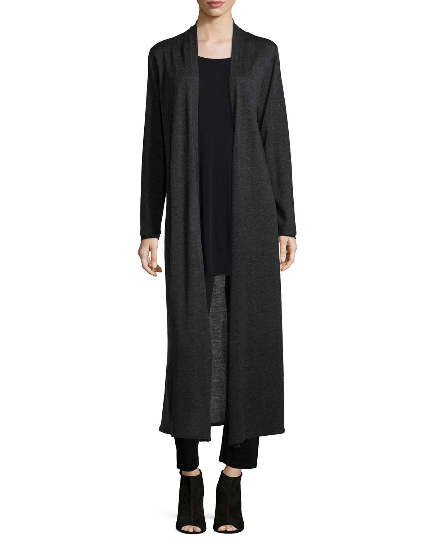 Eileen fisher Merino Wool Maxi Cardigan in Gray   Lyst