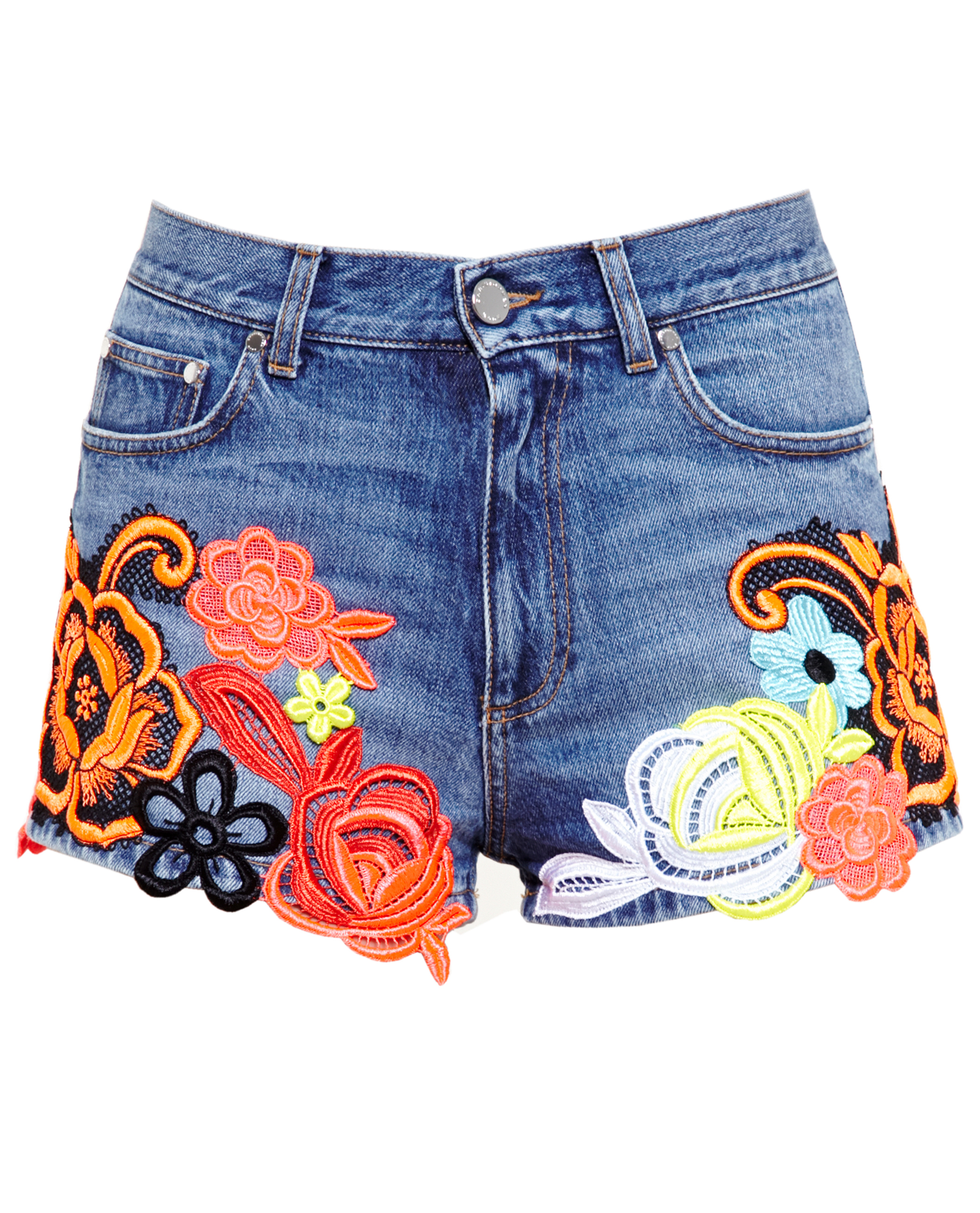 Christopher kane lace embroidered denim shorts in blue lyst