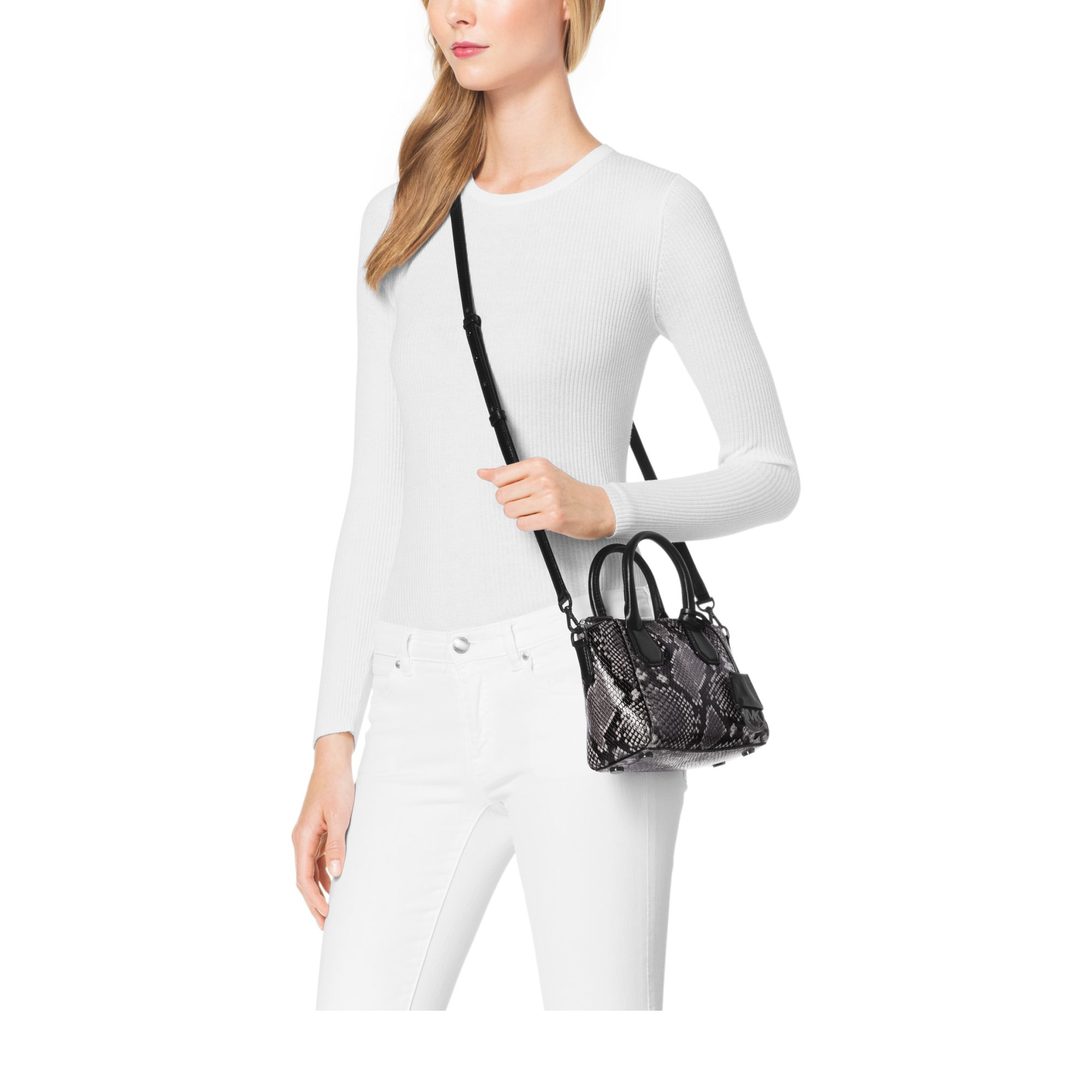 974b50e2e360 Lyst - Michael Kors Campbell Extra-small Embossed-leather Satchel in ...