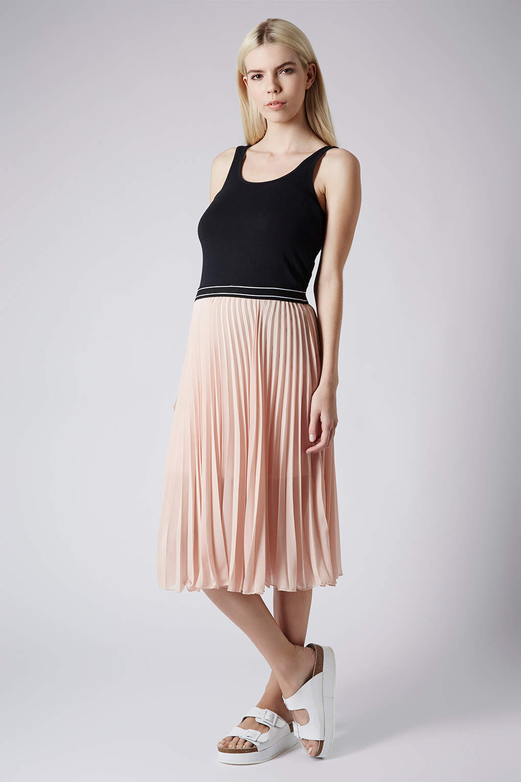 Topshop Maternity Sport Waistband Pleat Midi Skirt in Natural | Lyst