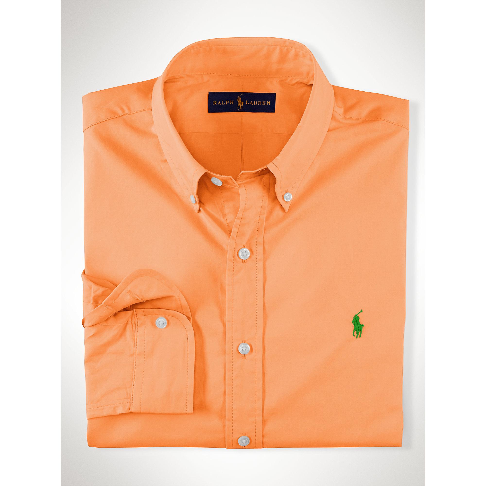 e2d4bc696 Polo Ralph Lauren Slim-fit Solid Poplin Shirt in Orange for Men - Lyst