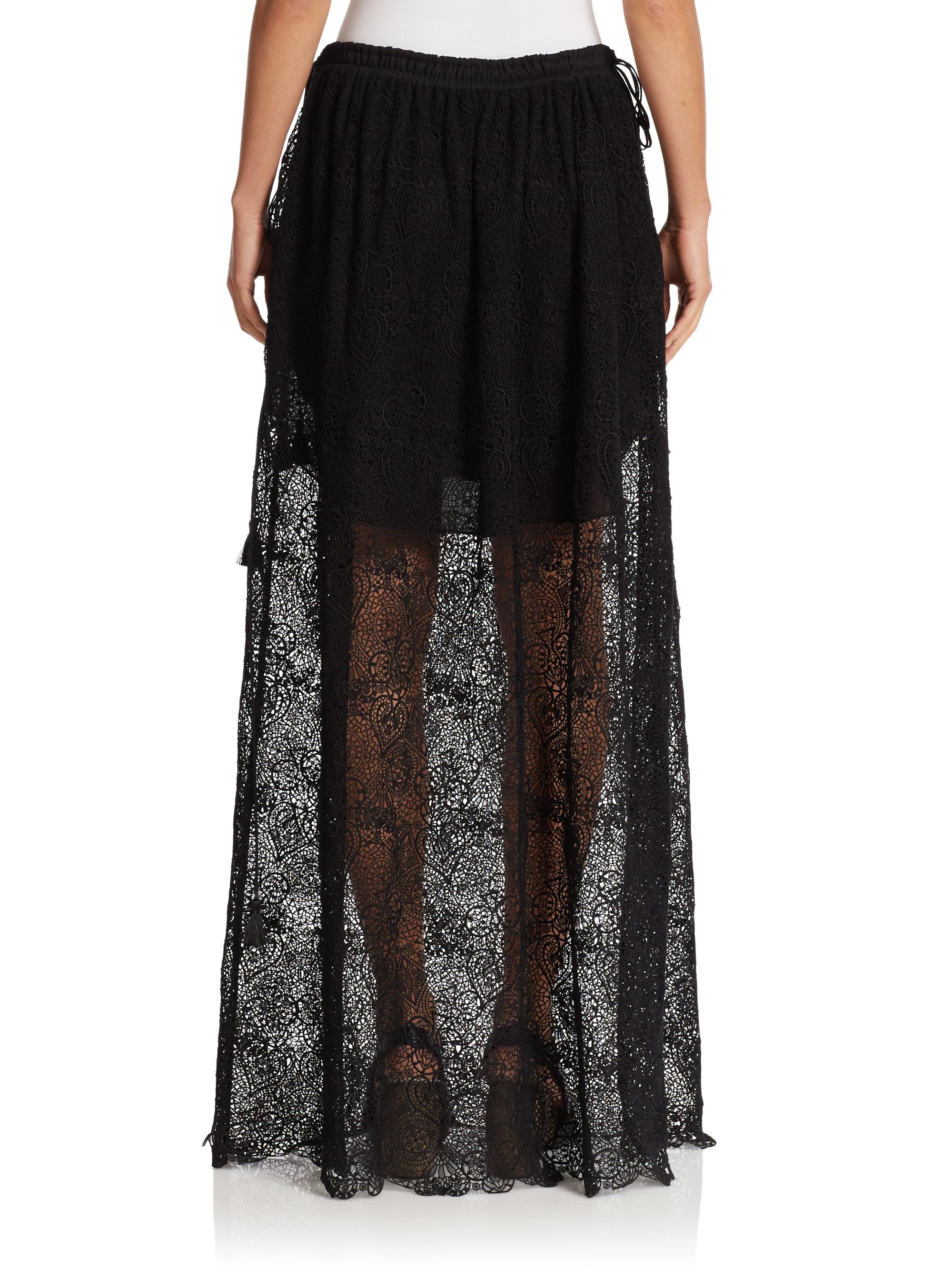chlo 233 drawstring lace maxi skirt in black lyst