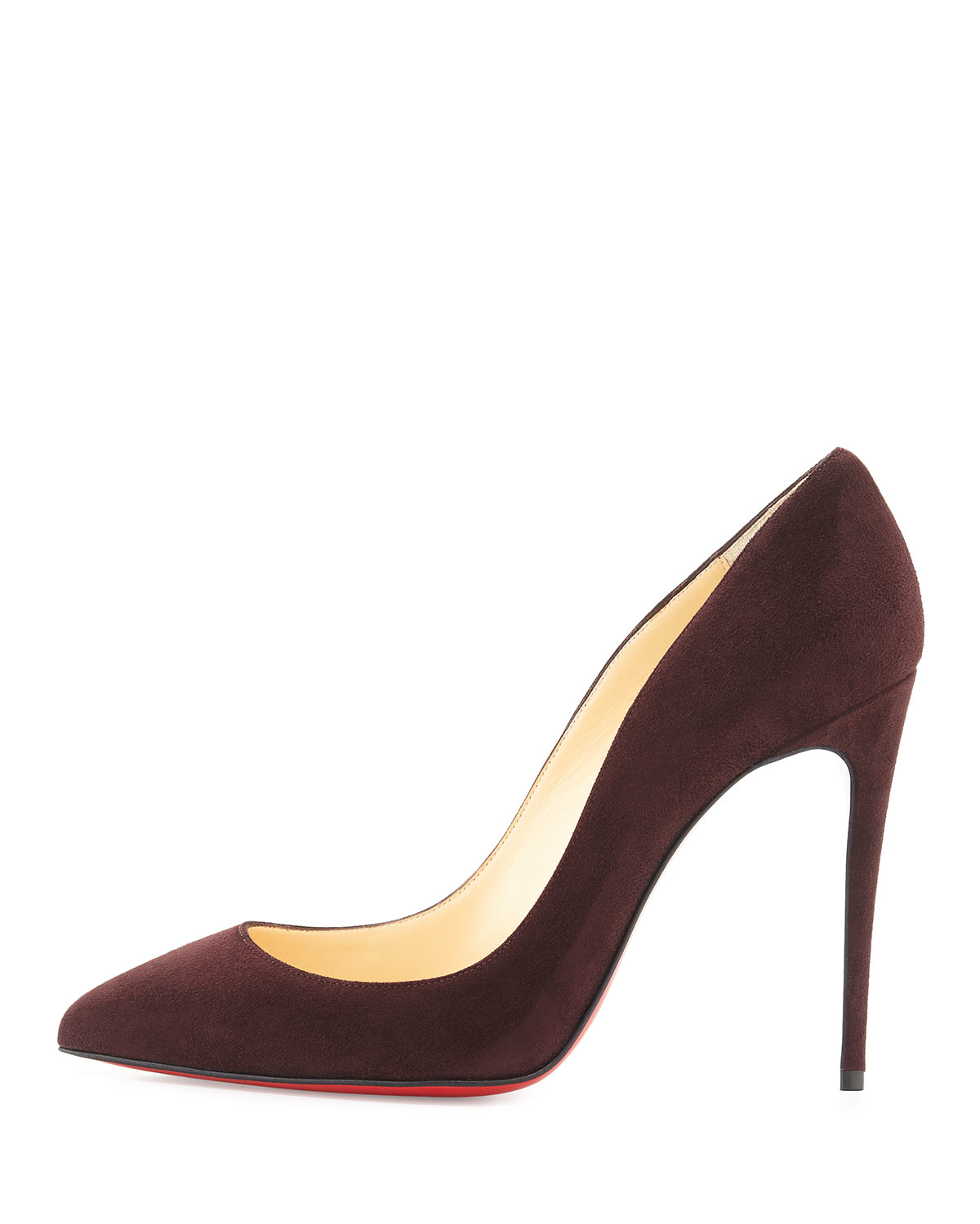 fake louboutin shoes - Christian louboutin Pigalle Follies Suede Point-Toe Red-Sole Pumps ...