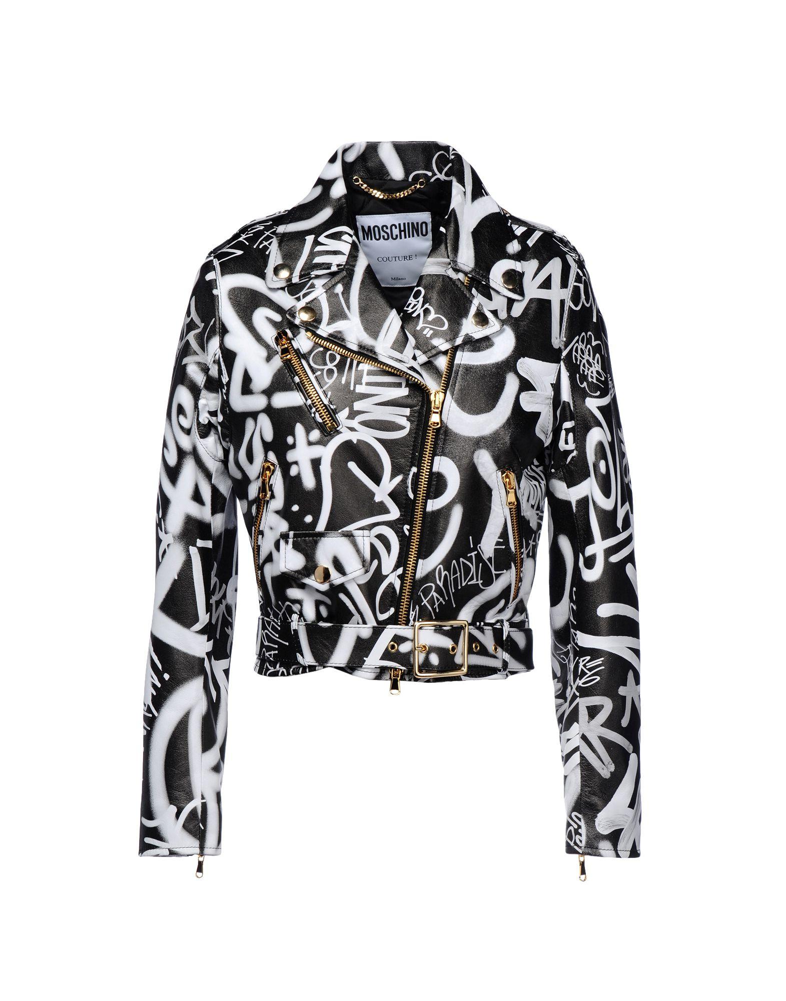 Moschino Graffiti Print Biker Jacket In Black Lyst