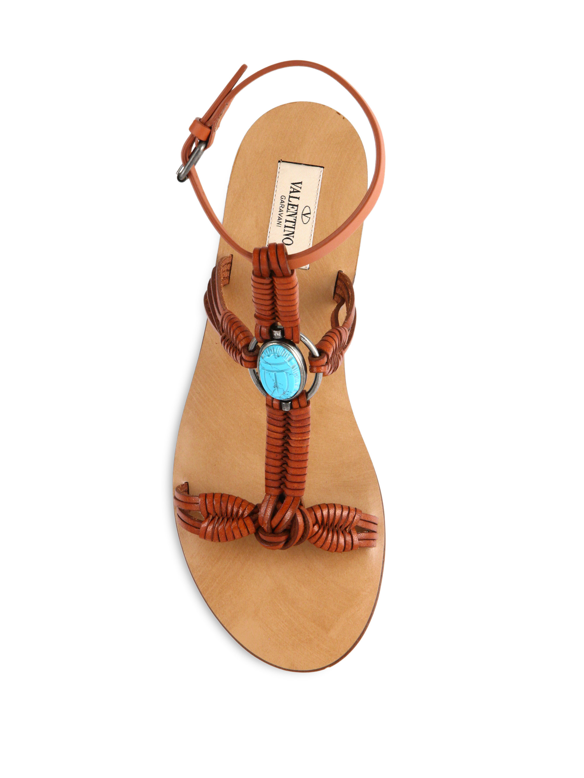 779cb9638c48 Lyst - Valentino Scarab Braided-Leather Sandals in Brown