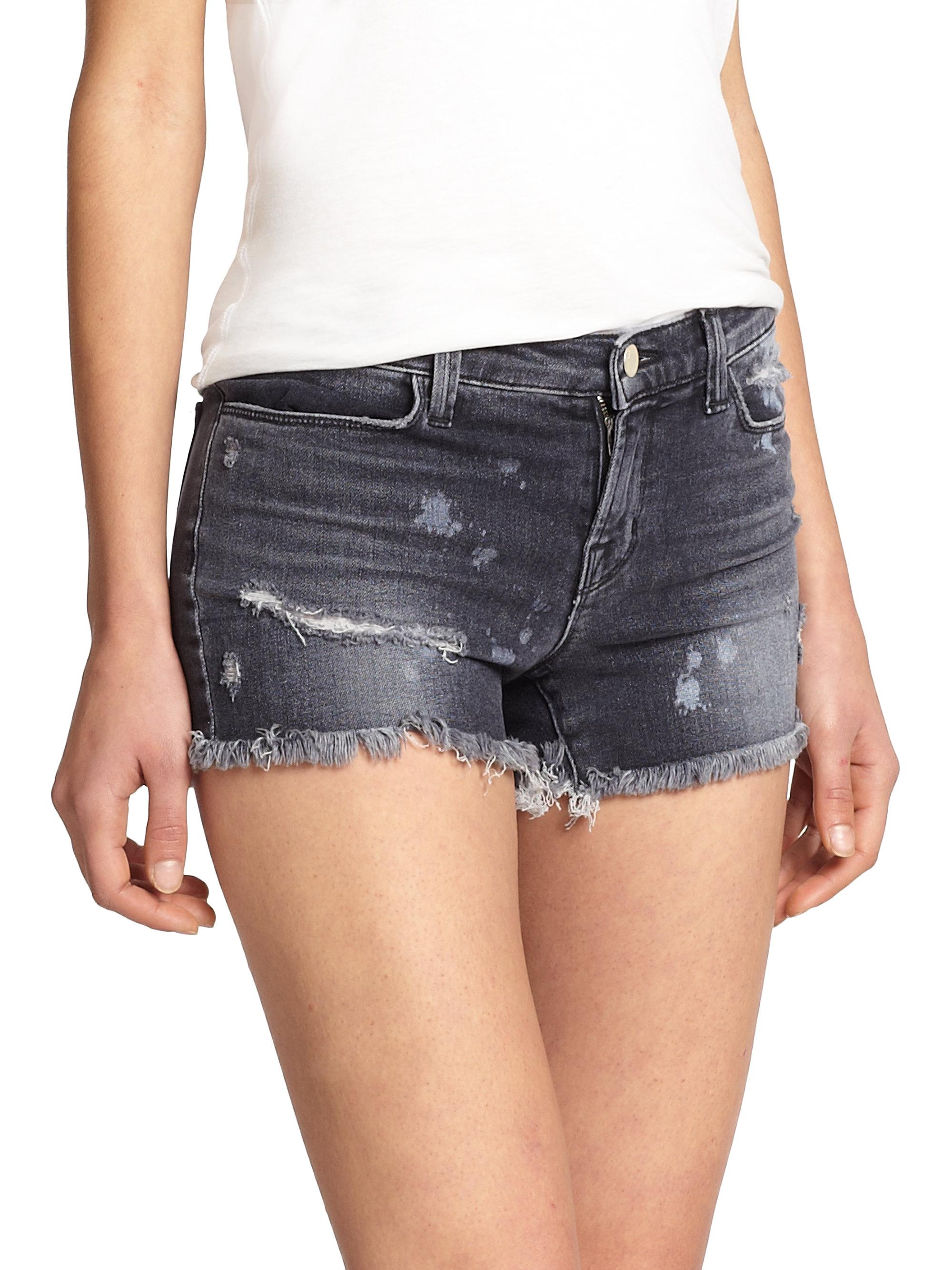 J brand Mia Mid-rise Distressed Denim Shorts in Gray | Lyst