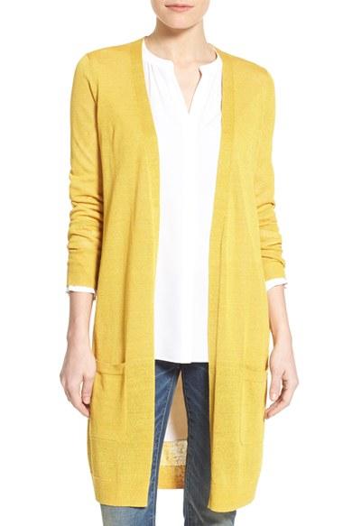 Halogen Long Linen Blend Cardigan in Yellow | Lyst