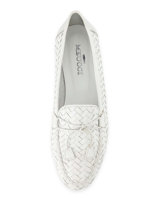 05944806b959f Sesto Meucci White Nancy Woven Leather Tassel Flat Loafer for men
