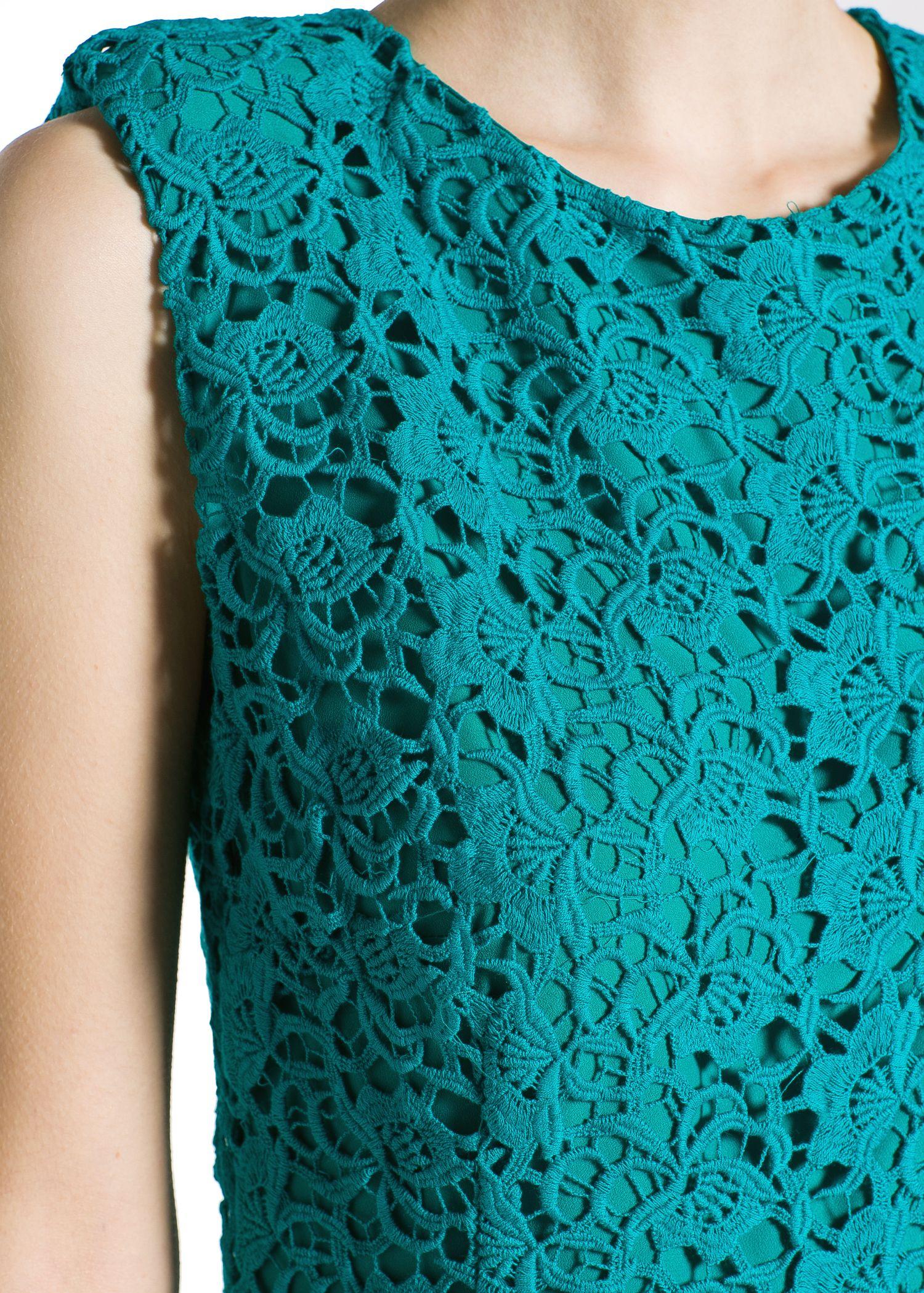 Lyst Mango Guipure Dress In Green