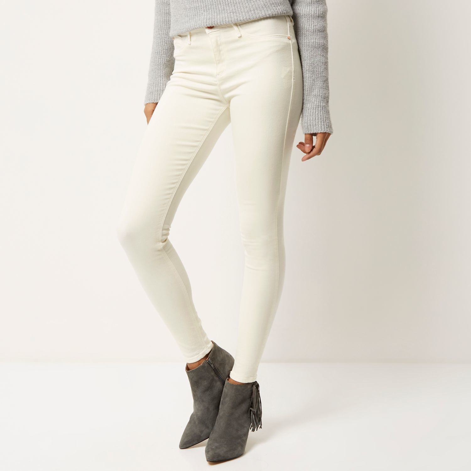 Womens White Molly raw hem jeggings River Island For Sale Online Official Site For Sale Buy Cheap 100% Original 8IufQmm