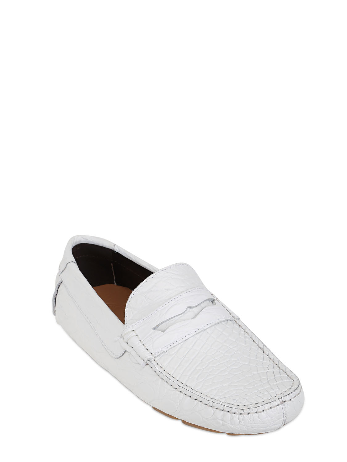 a testoni crocodile leather driving shoes in white for