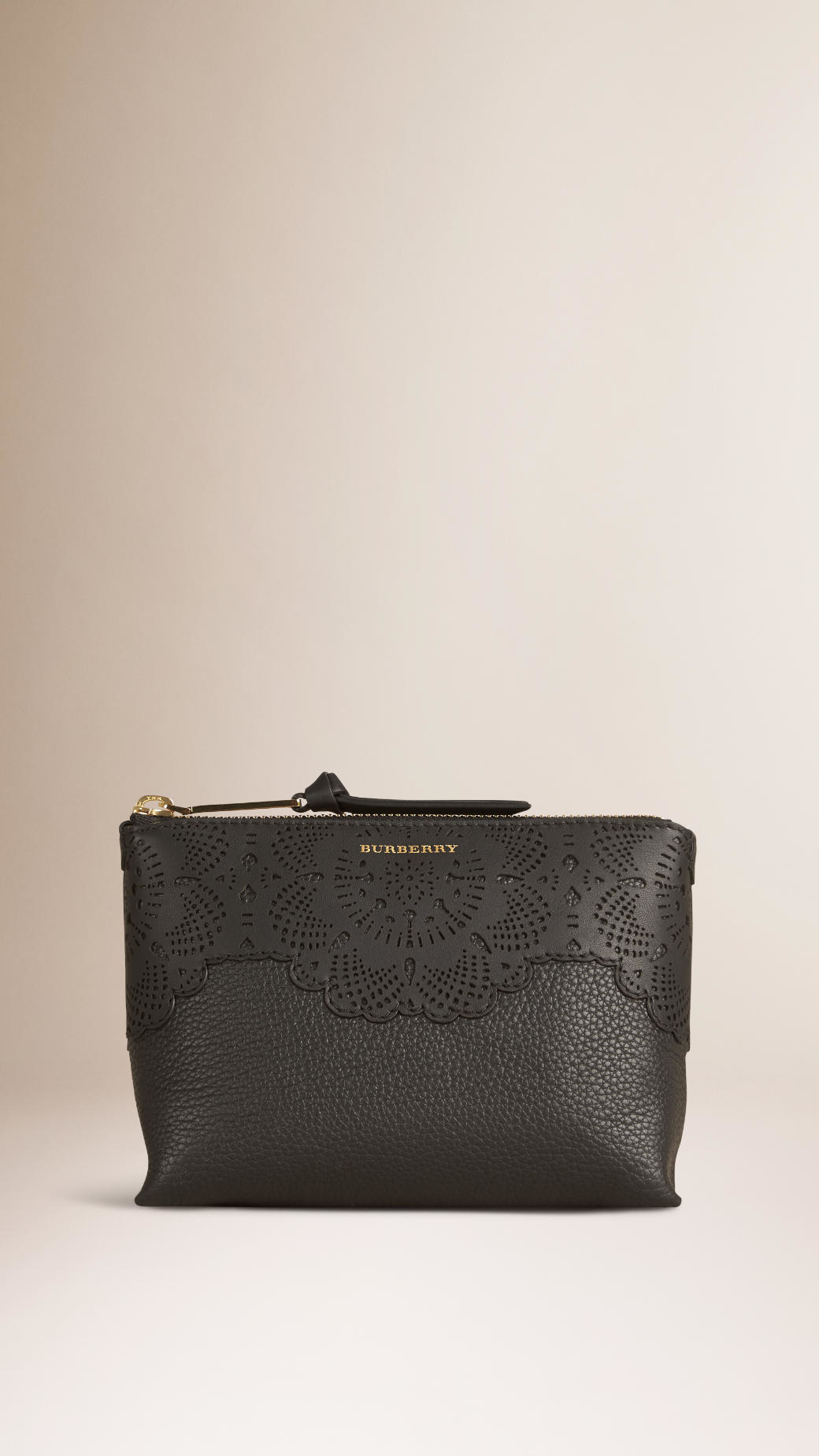 a1932922d604 Burberry Medium Grained Leather Beauty Pouch in Black