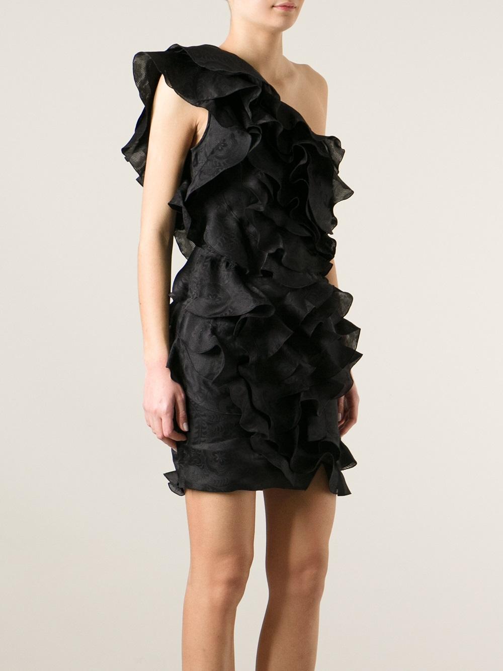 Isabel Marant ruffled one shoulder dress Amazon Cheap Online Cheap Price Original IfEW3wv