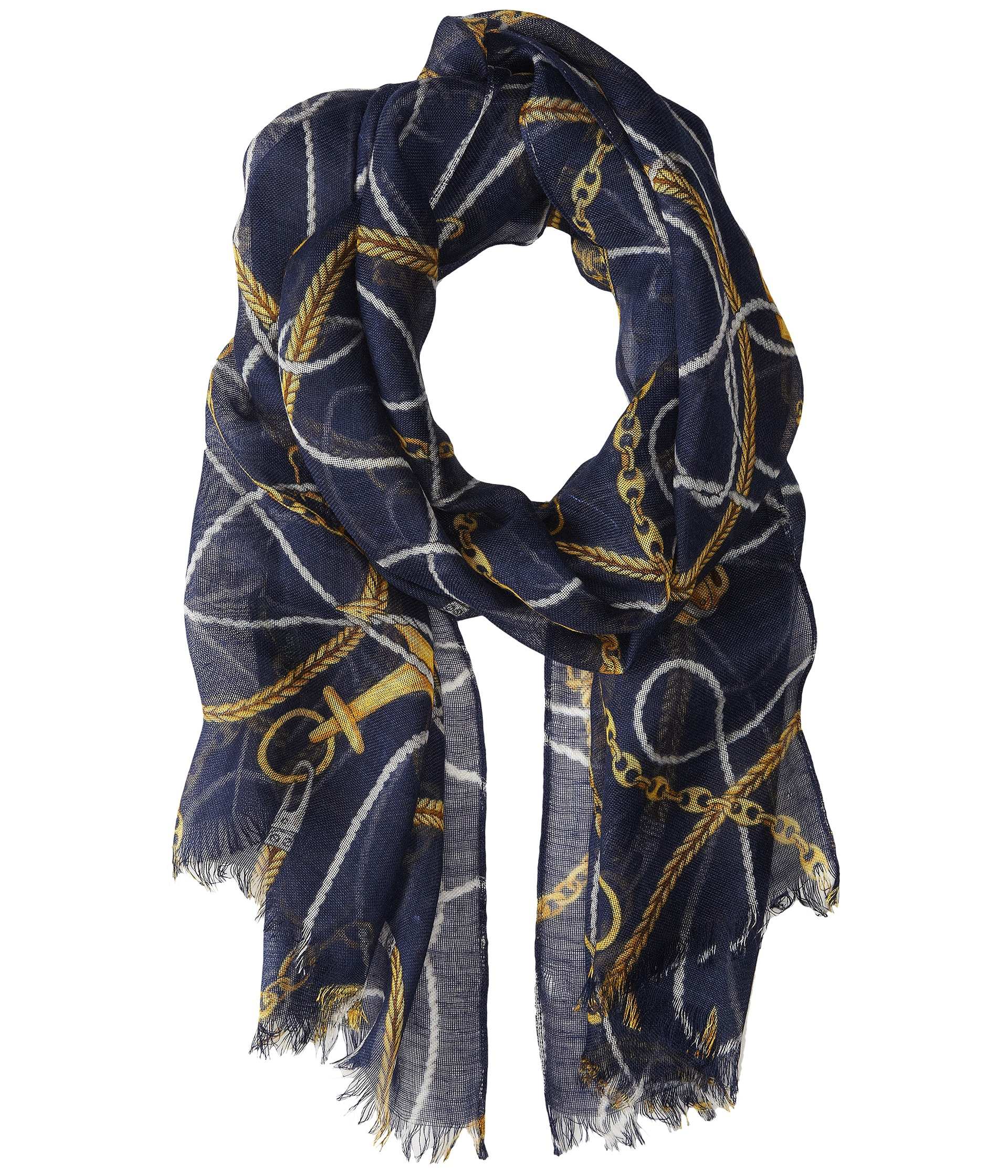 by ralph fringe scarf in blue lyst
