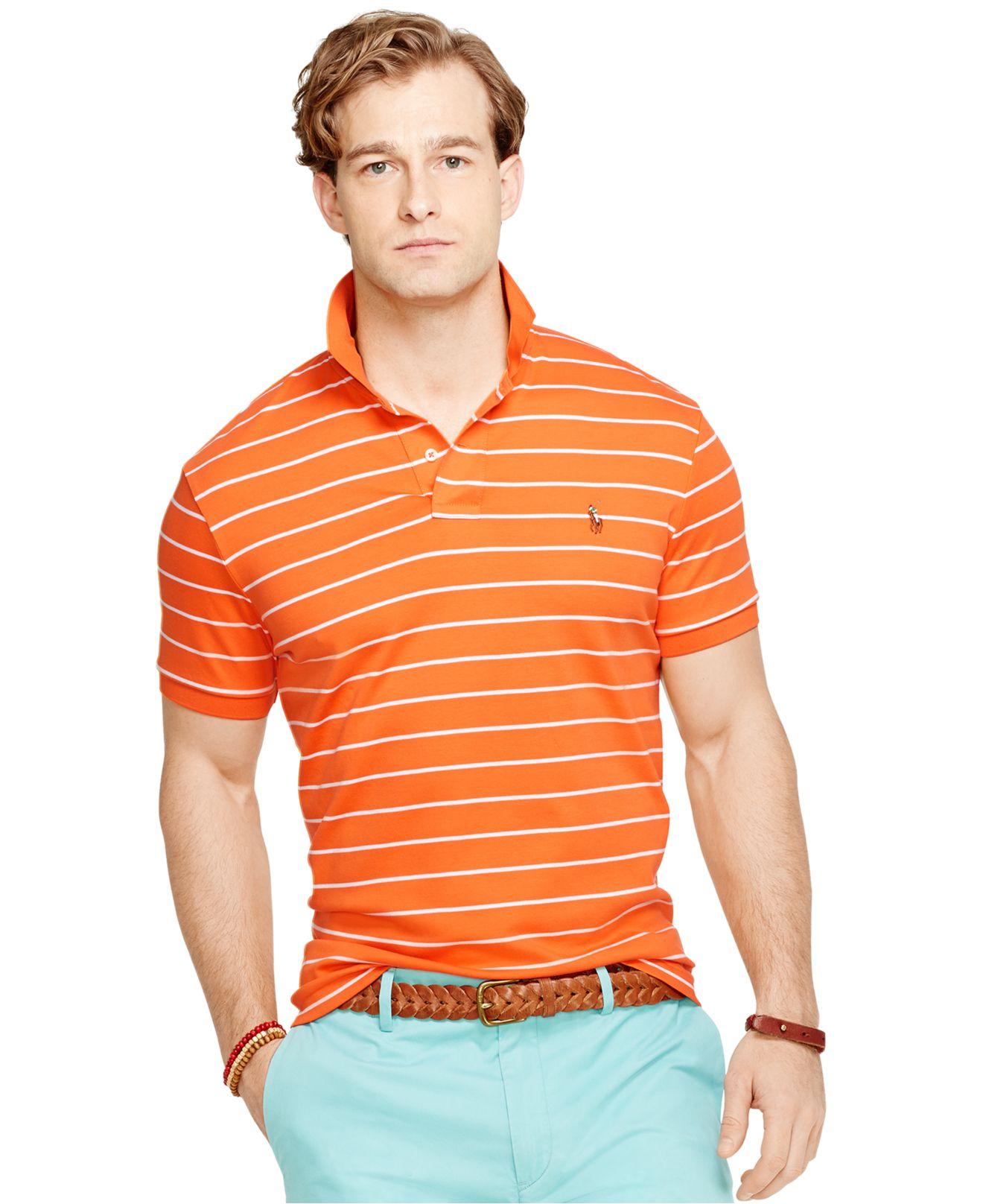 Ralph Shirt Polo Men Orange Touch Striped Pima Soft For Lauren qRjc34LS5A