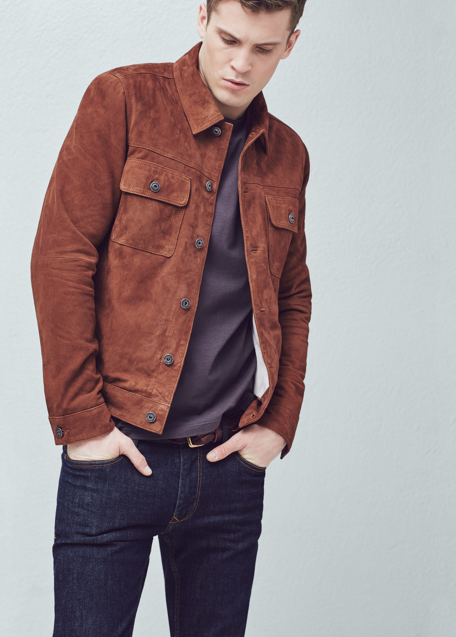 details for entire collection a few days away Mango Flap-pocket Suede Jacket in Cognac (Brown) for Men - Lyst