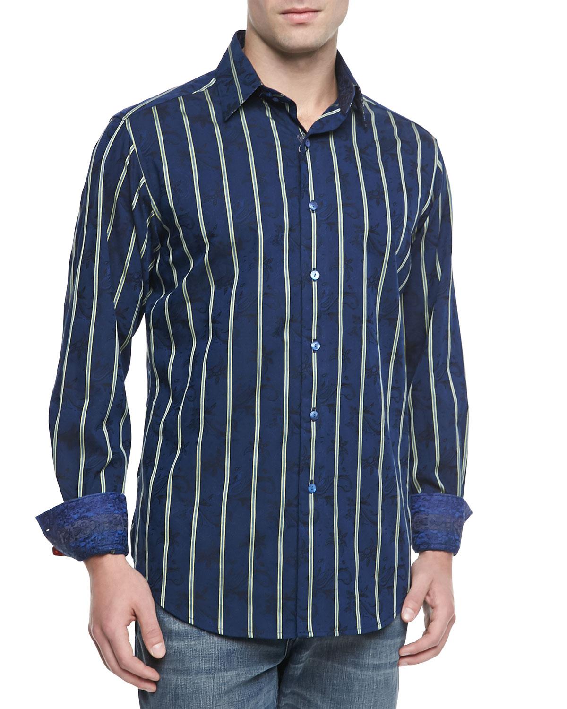 Robert graham mantis striped sport shirt navy in blue for for Robert graham sport shirt