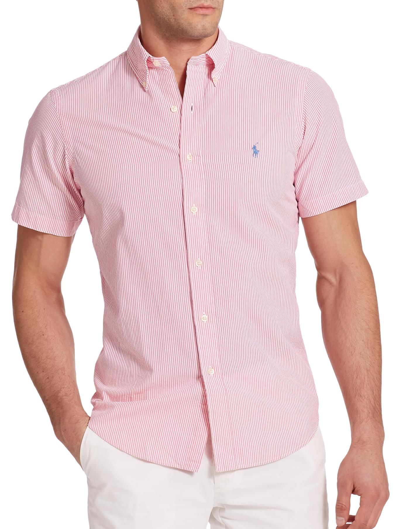 4a8ac8a0 Polo Ralph Lauren Striped Seersucker Sportshirt in Pink for Men - Lyst