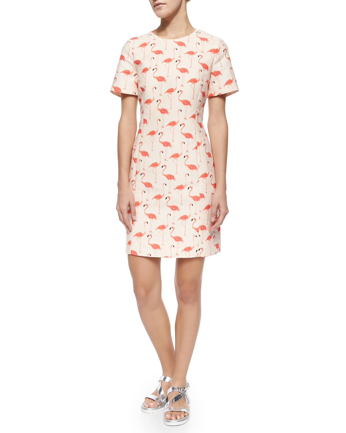 Kate spade new york Short-sleeve Flamingo-print Sheath ...
