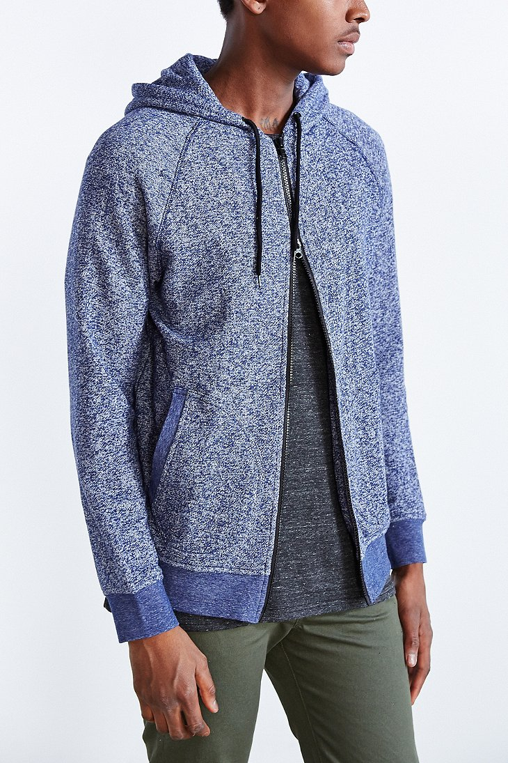 Bdg Marled Zip Hoodie Sweatshirt in Blue for Men | Lyst