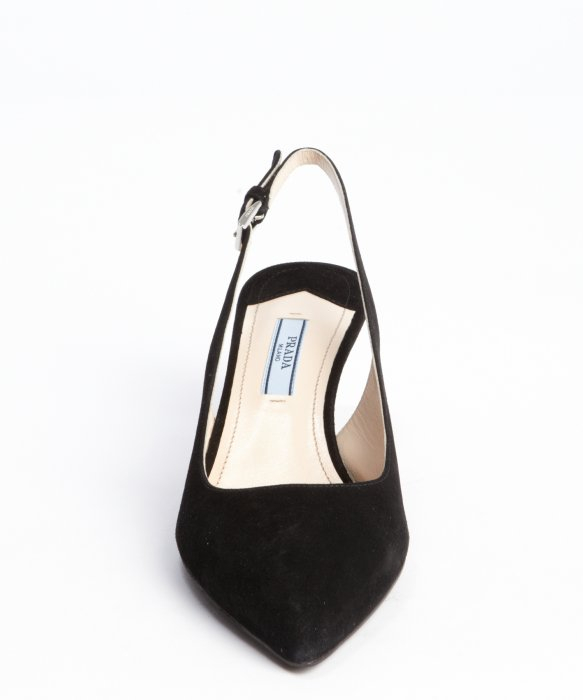 Prada Black Suede Slingback Kitten Heel Pumps in Black | Lyst