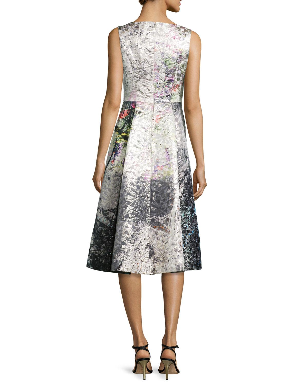 Teri Jon Tea-Length Cocktail Dress in Gray - Lyst 4376e9877