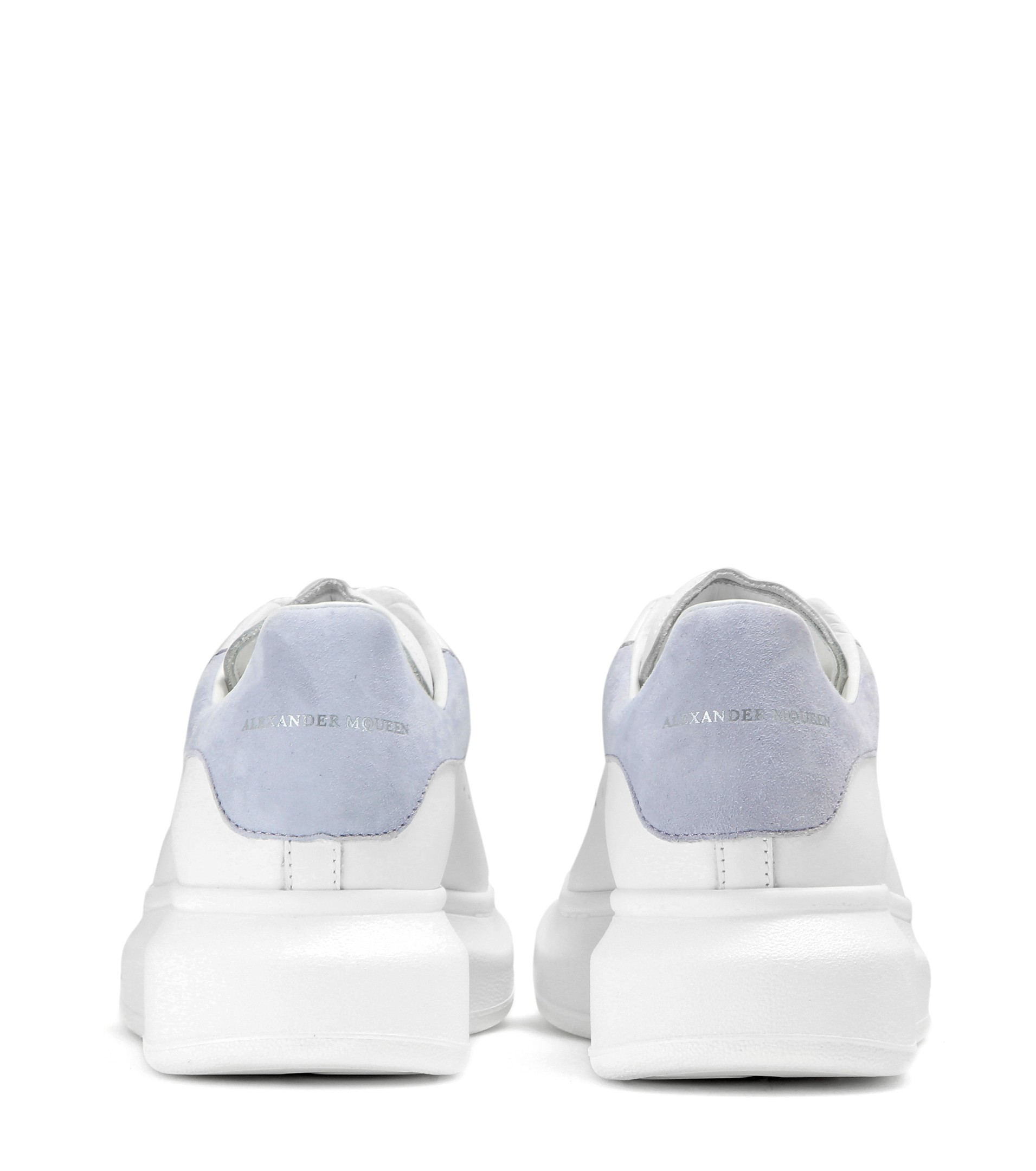 Alexander McQueen Leather And Suede Sneakers in White/Cloud Blue (White)