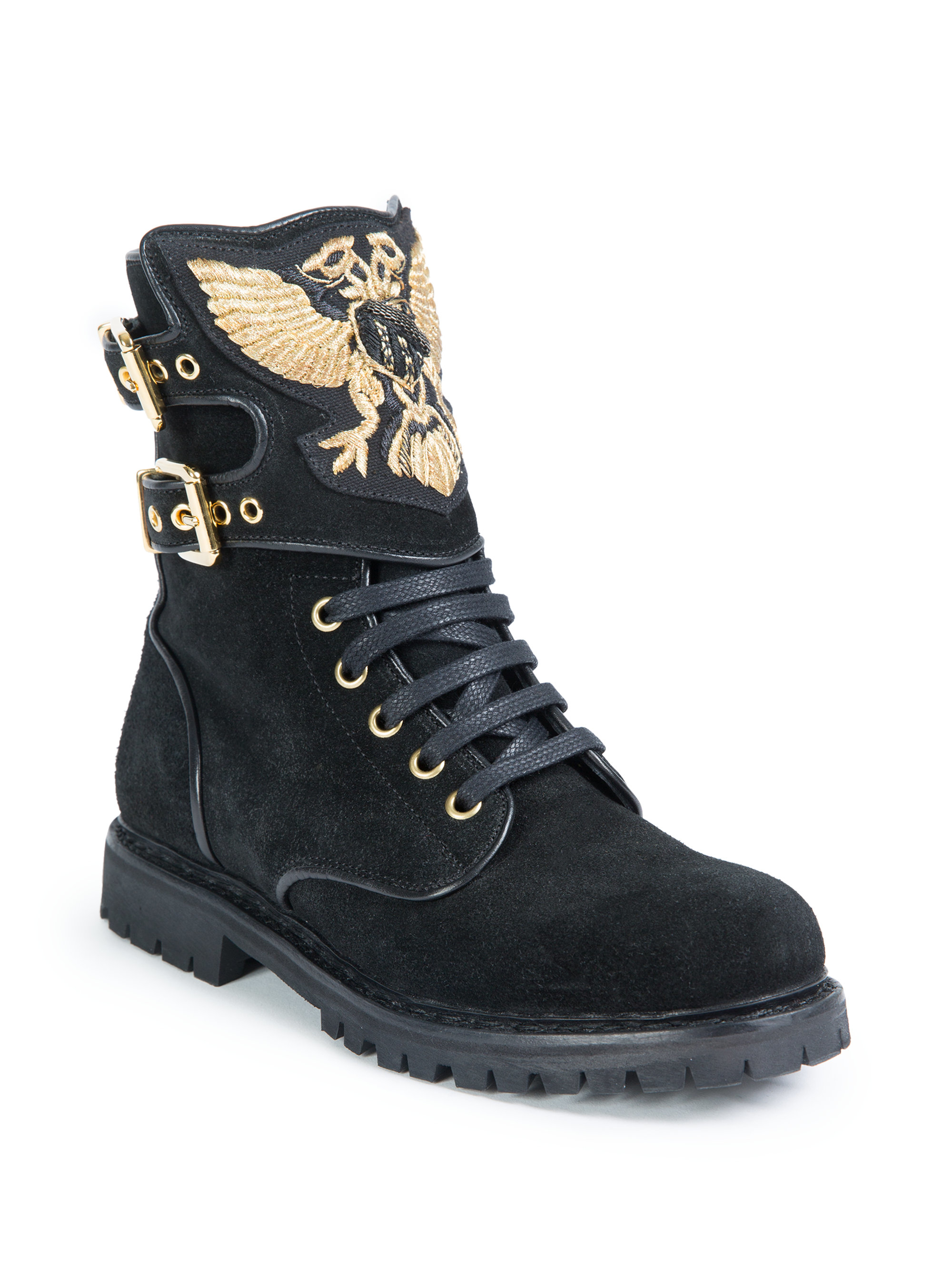 Balmain Embroidered Suede Ranger Boots In Black Lyst