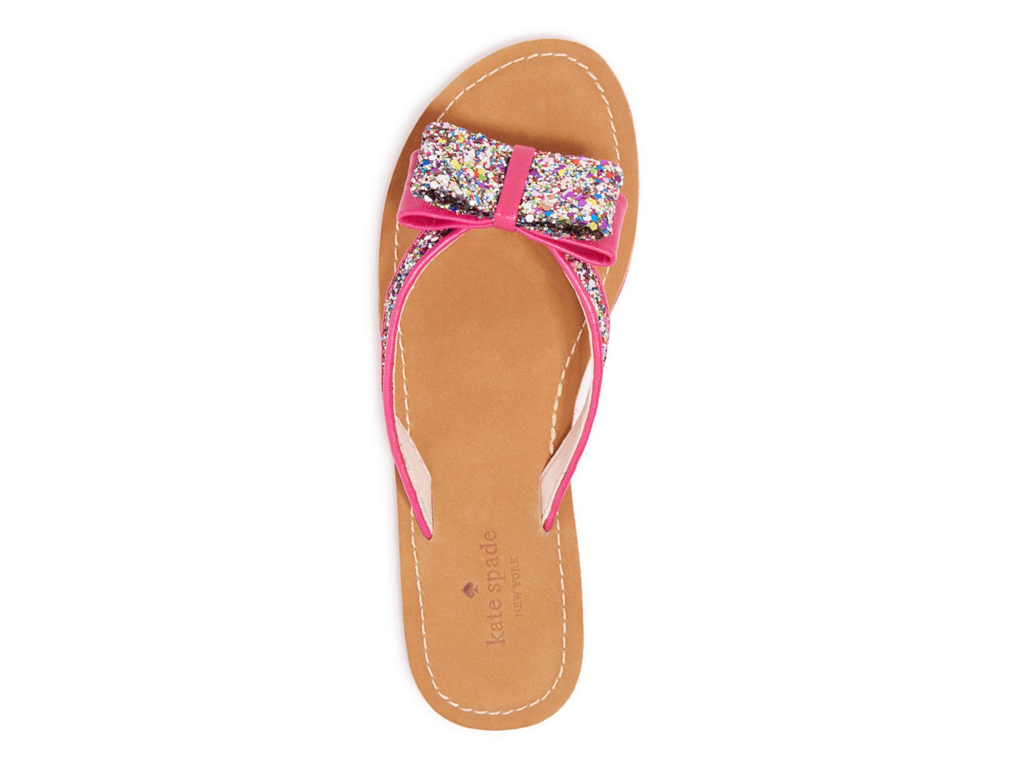 kate spade new york flip flops icarda glitter in pink lyst. Black Bedroom Furniture Sets. Home Design Ideas