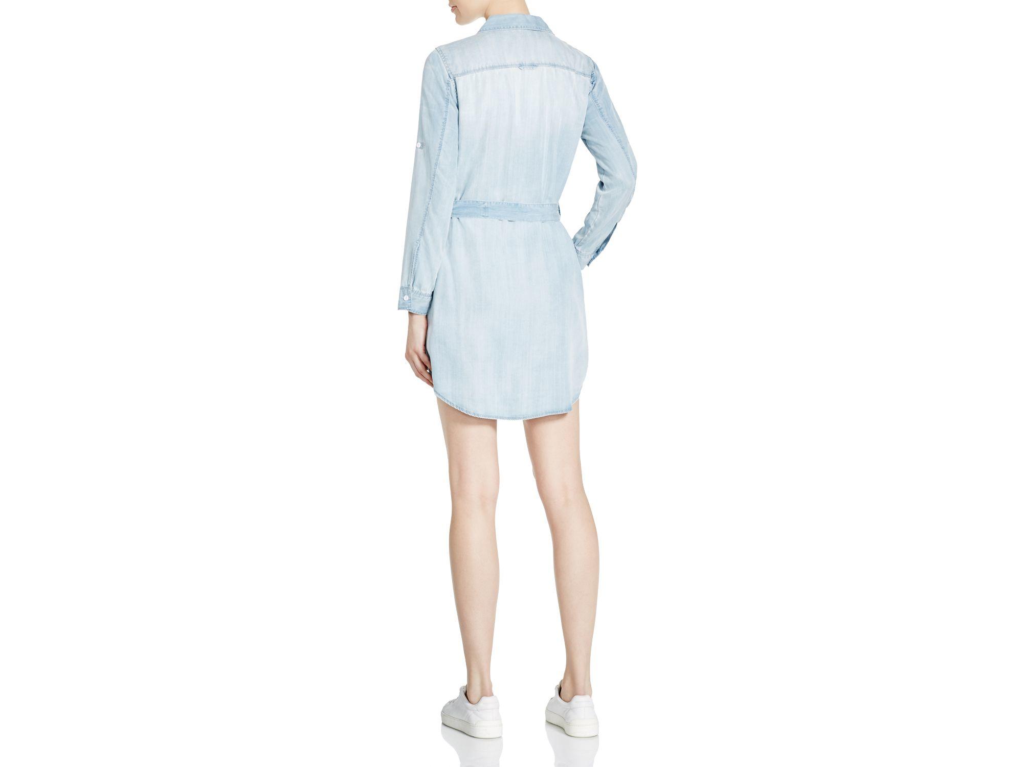 Aqua Anita Chambray Shirt Dress In Blue Lyst