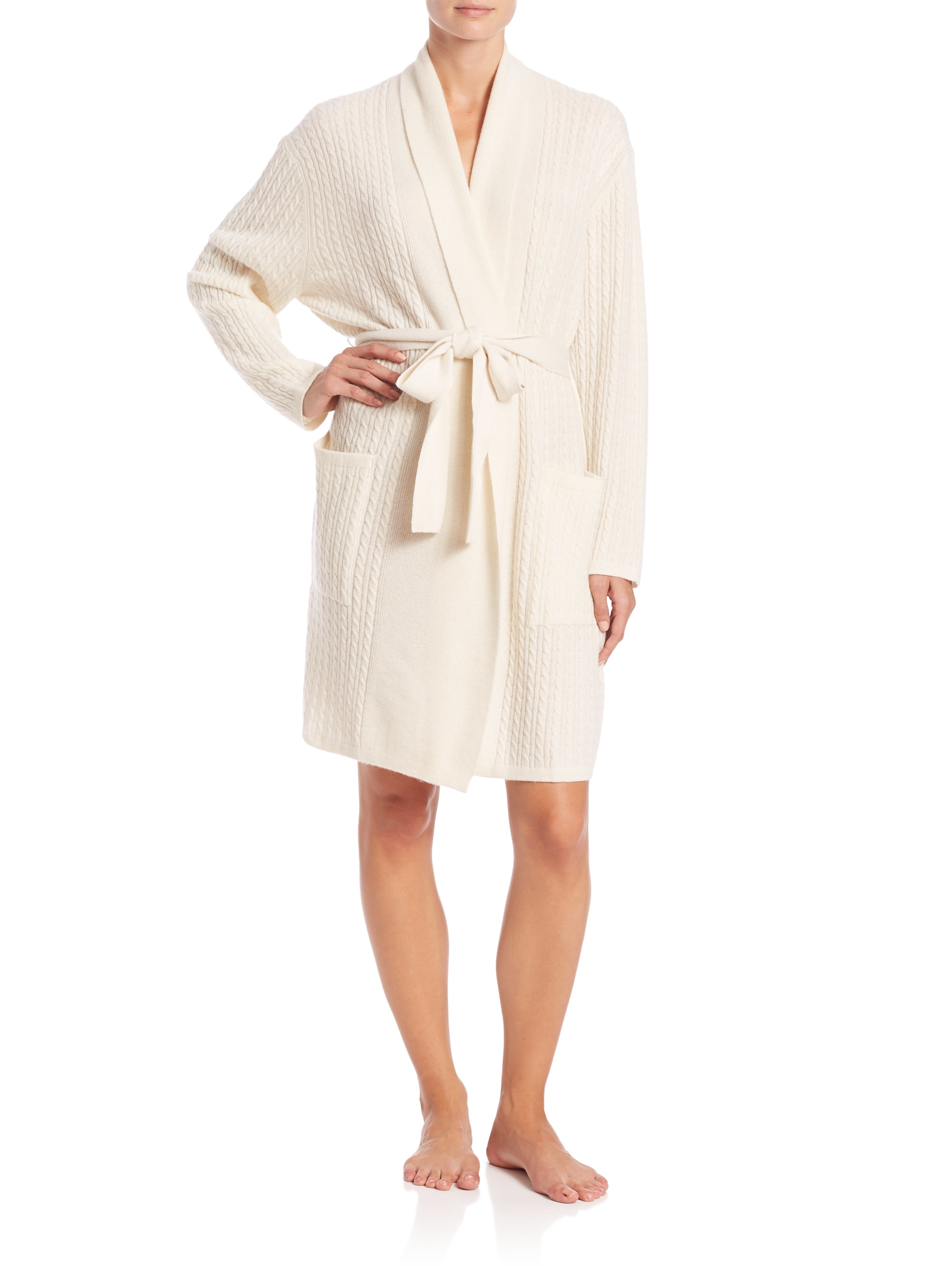 Lyst saks fifth avenue long luxe cashmere wrap robe in white for Saks 5th avenue robes de mariage