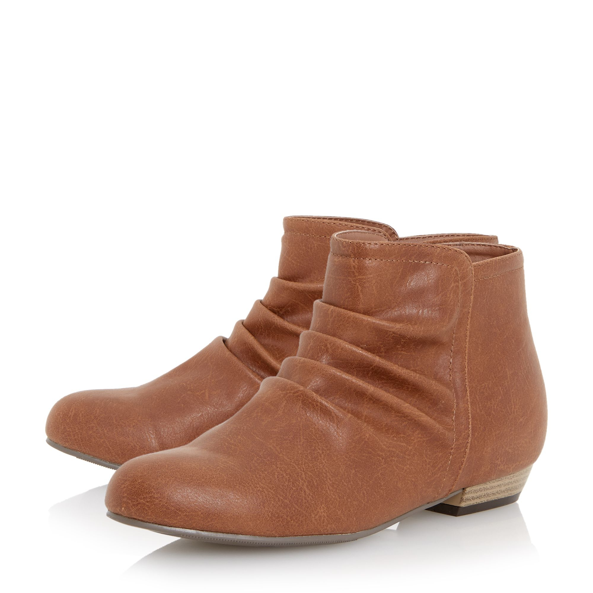 dune patties flat ruched boots in brown lyst