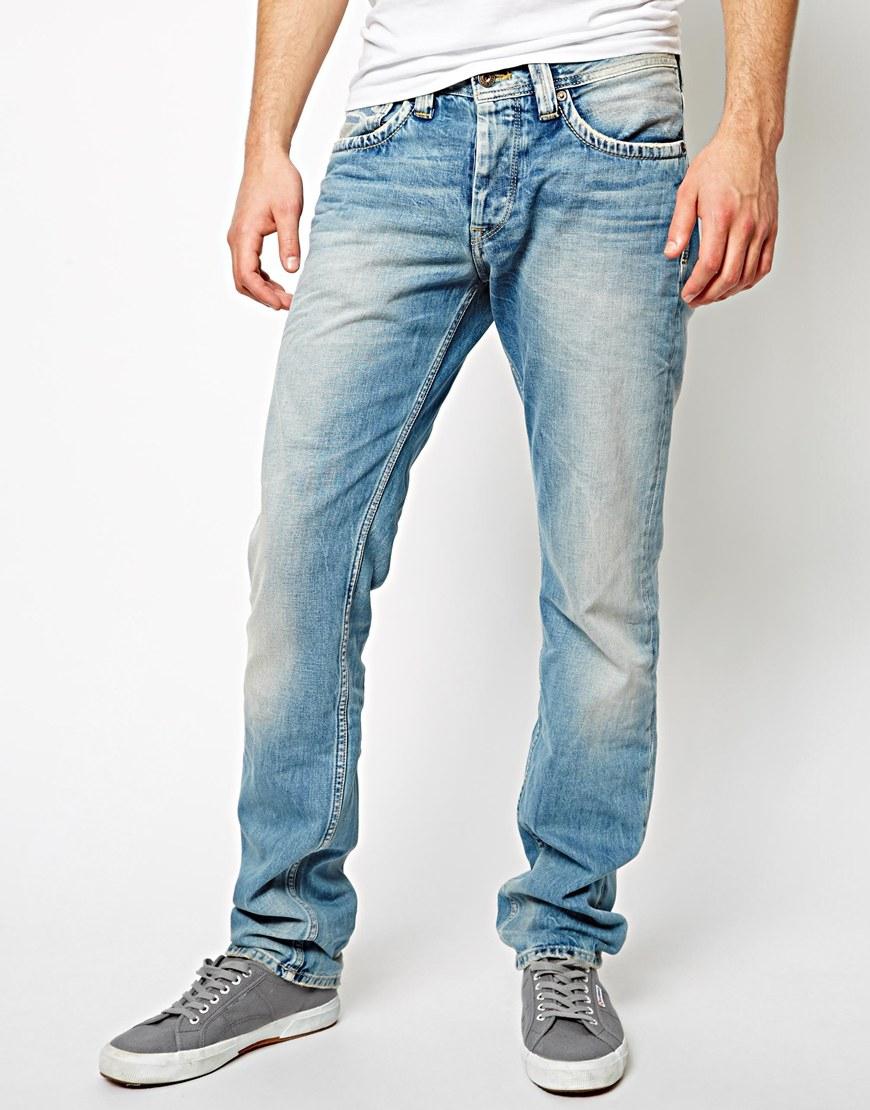 Pepe jeans Cash Regular Tapered Fit Light Wash in Blue for Men | Lyst
