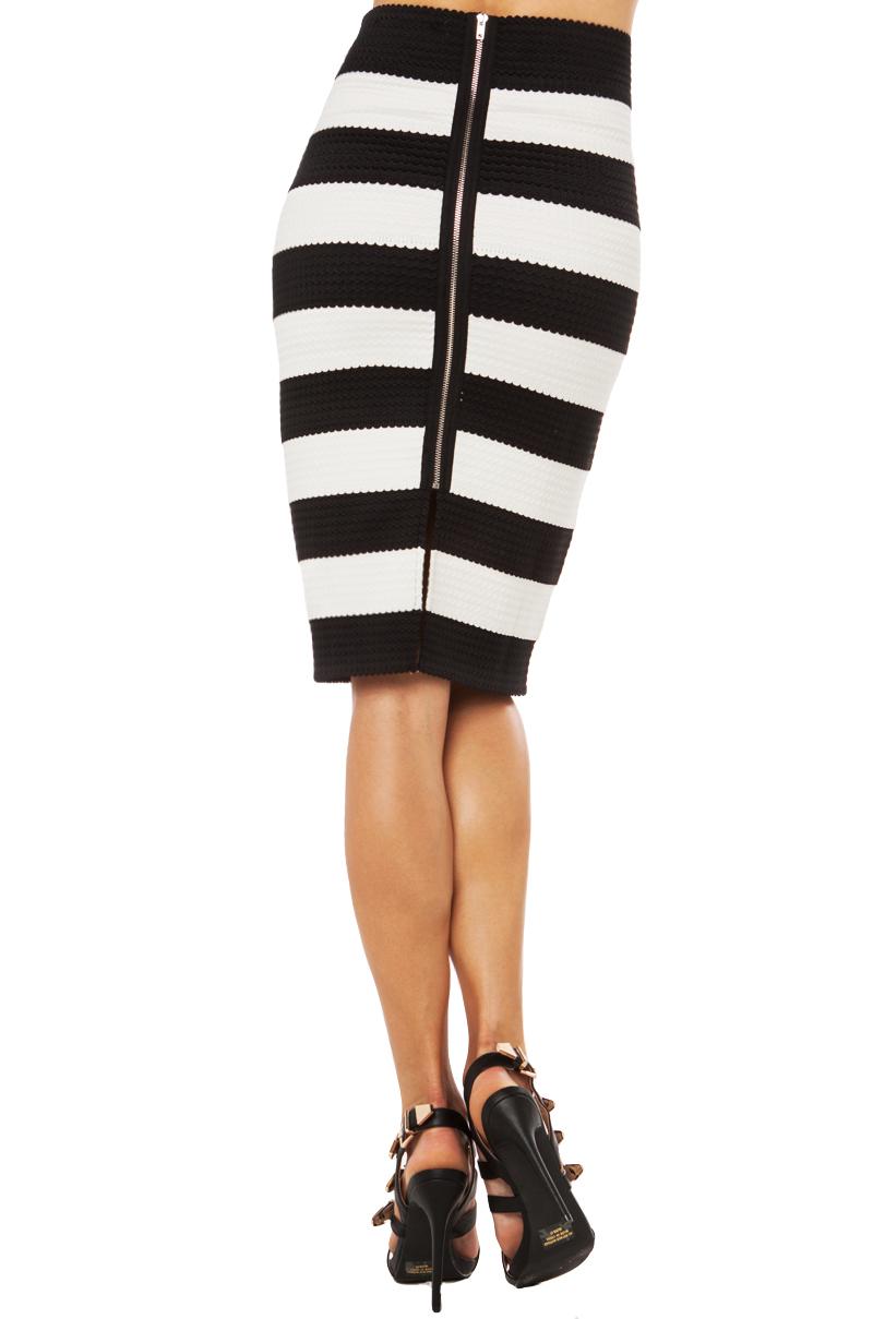 black label elastic bandage midi skirt in black