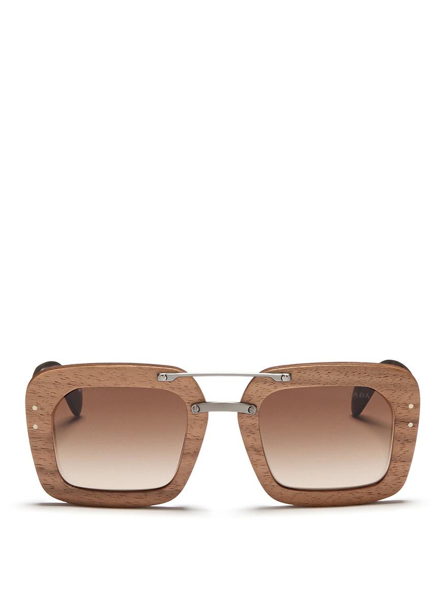 Prada Brown Raw Matte Tortoiseshell Temple Wood Sunglasses