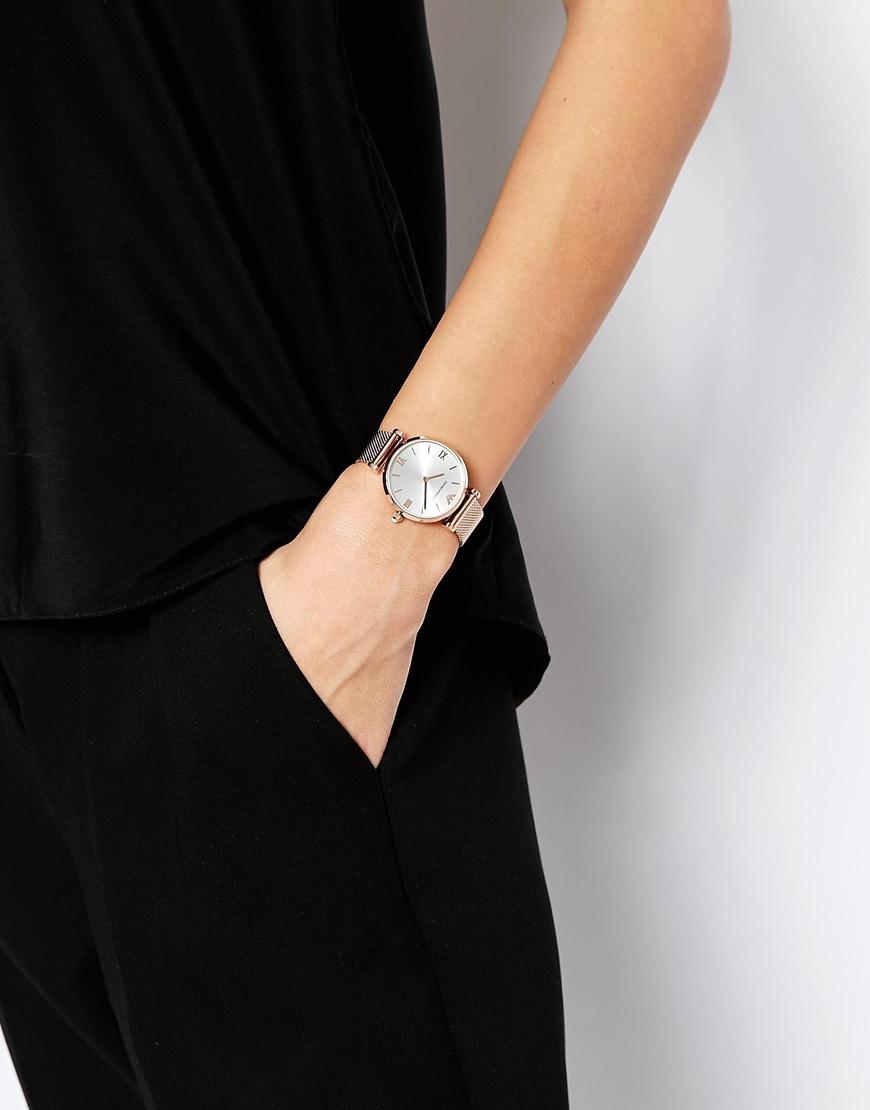 lyst emporio armani rose gold mesh gianni watch in metallic