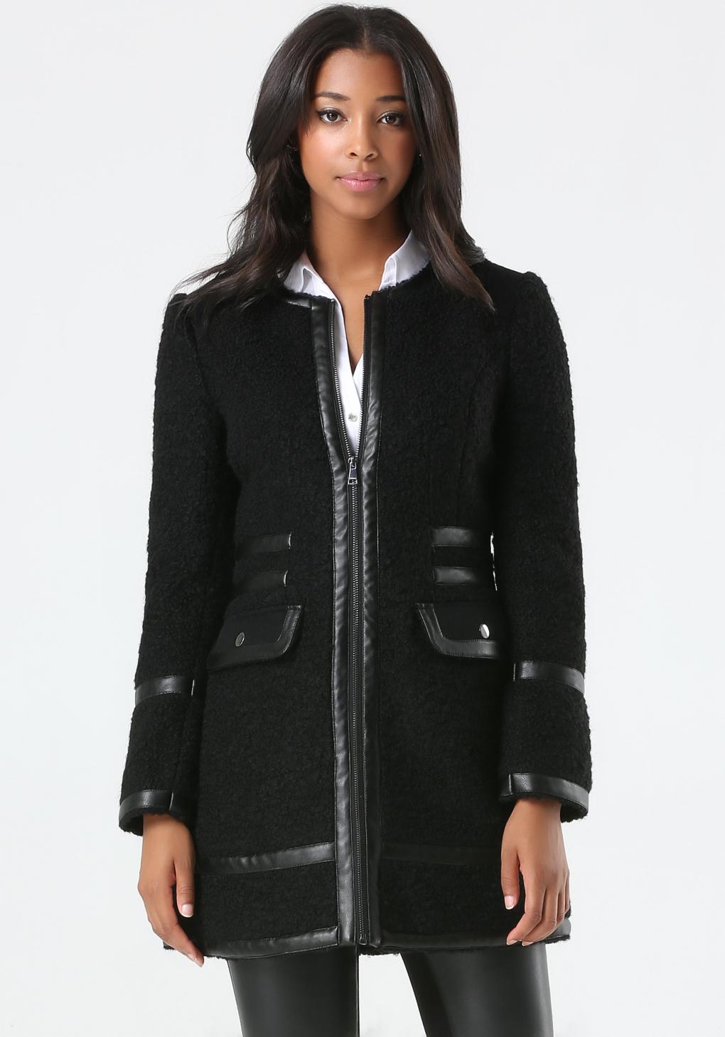 Bebe Wool Boucle Car Coat in Black | Lyst