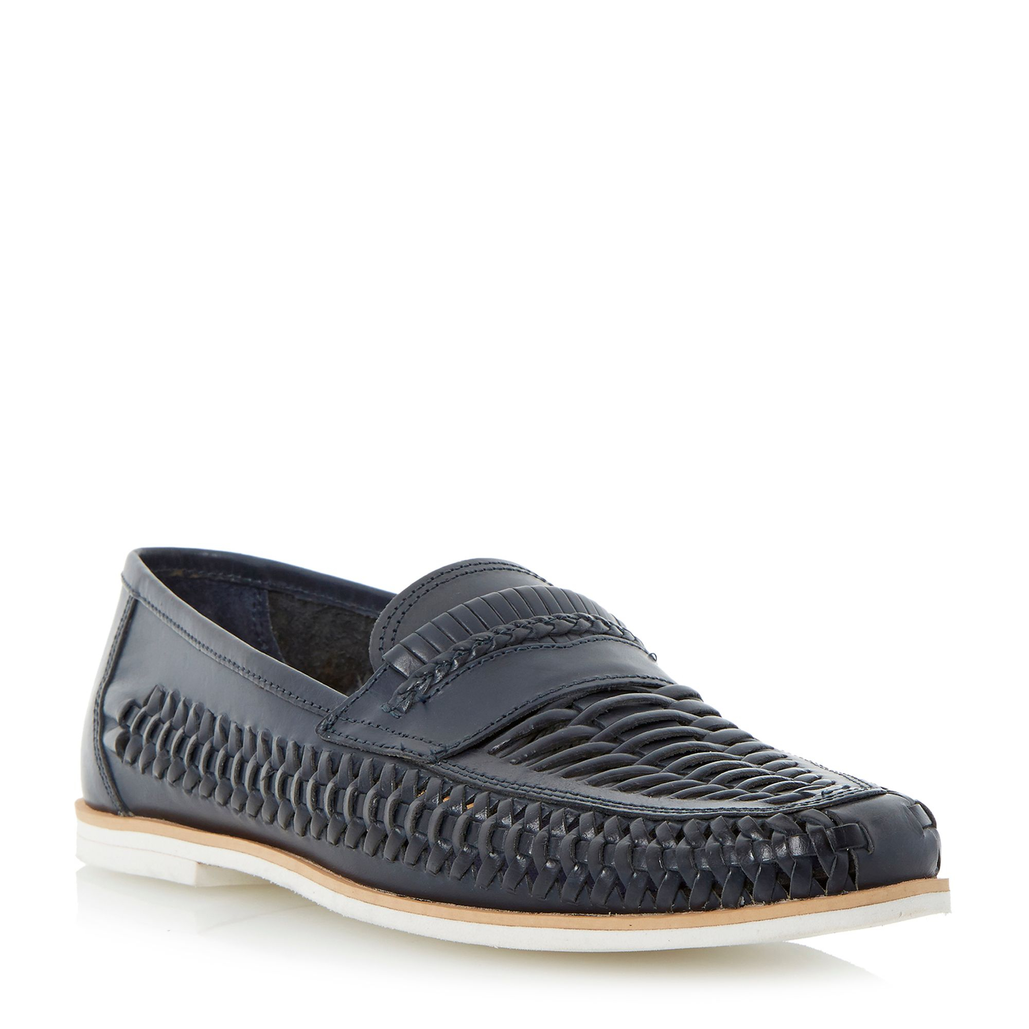 Bertie Leather Bryant Park Woven Moccassins in Navy (Blue) for Men