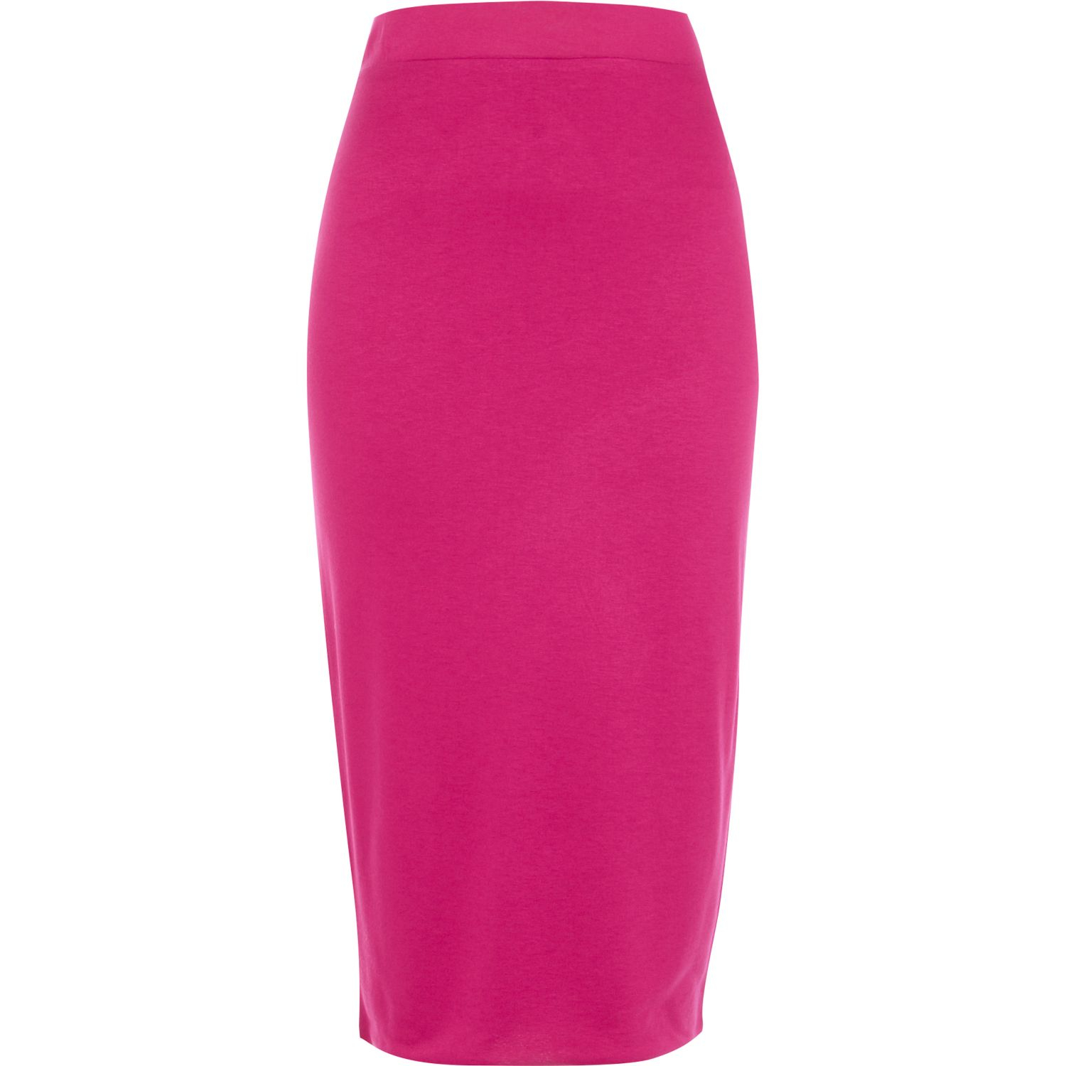 river island bright pink layered pencil skirt in