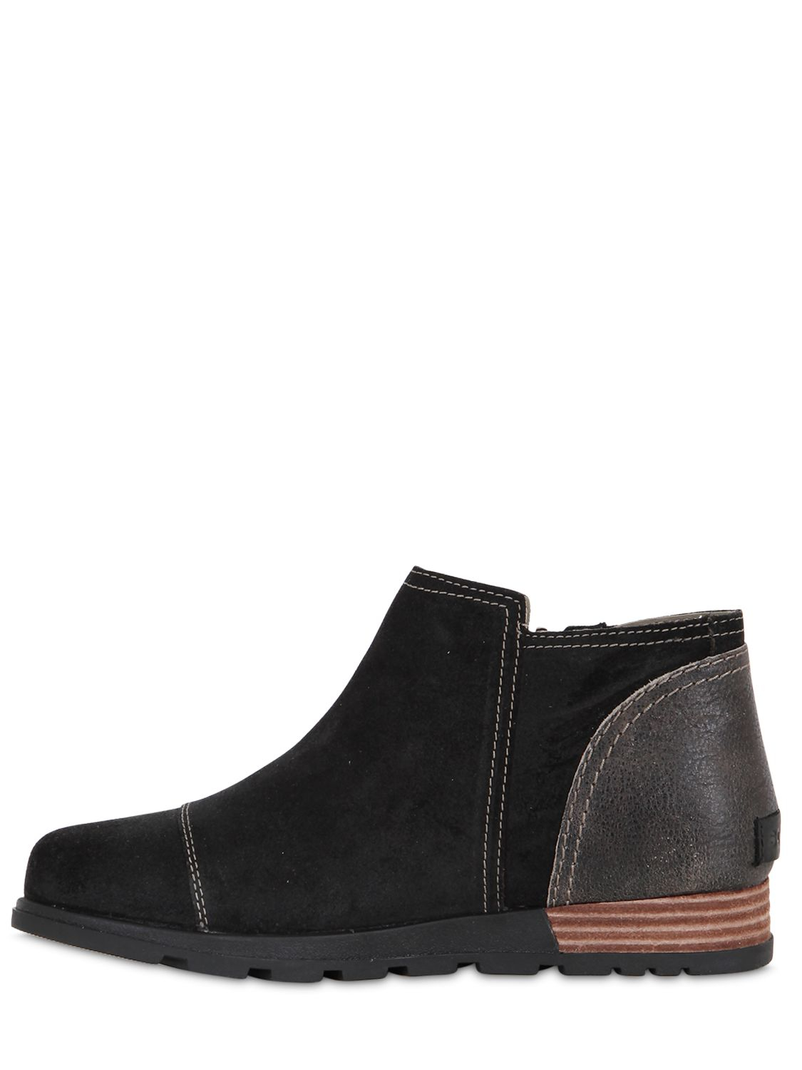 Premium Suede Ankle Boots in Black