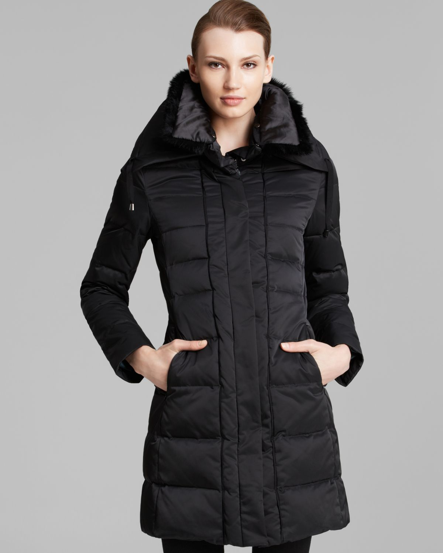 Lyst Elie Tahari Down Coat With Fur Collar In Black