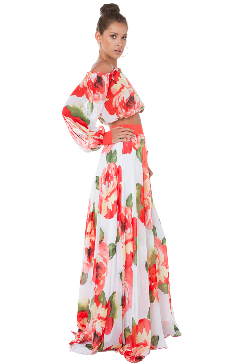 Akira black label Garden Of Eden Red White Floral Print Maxi Skirt ...