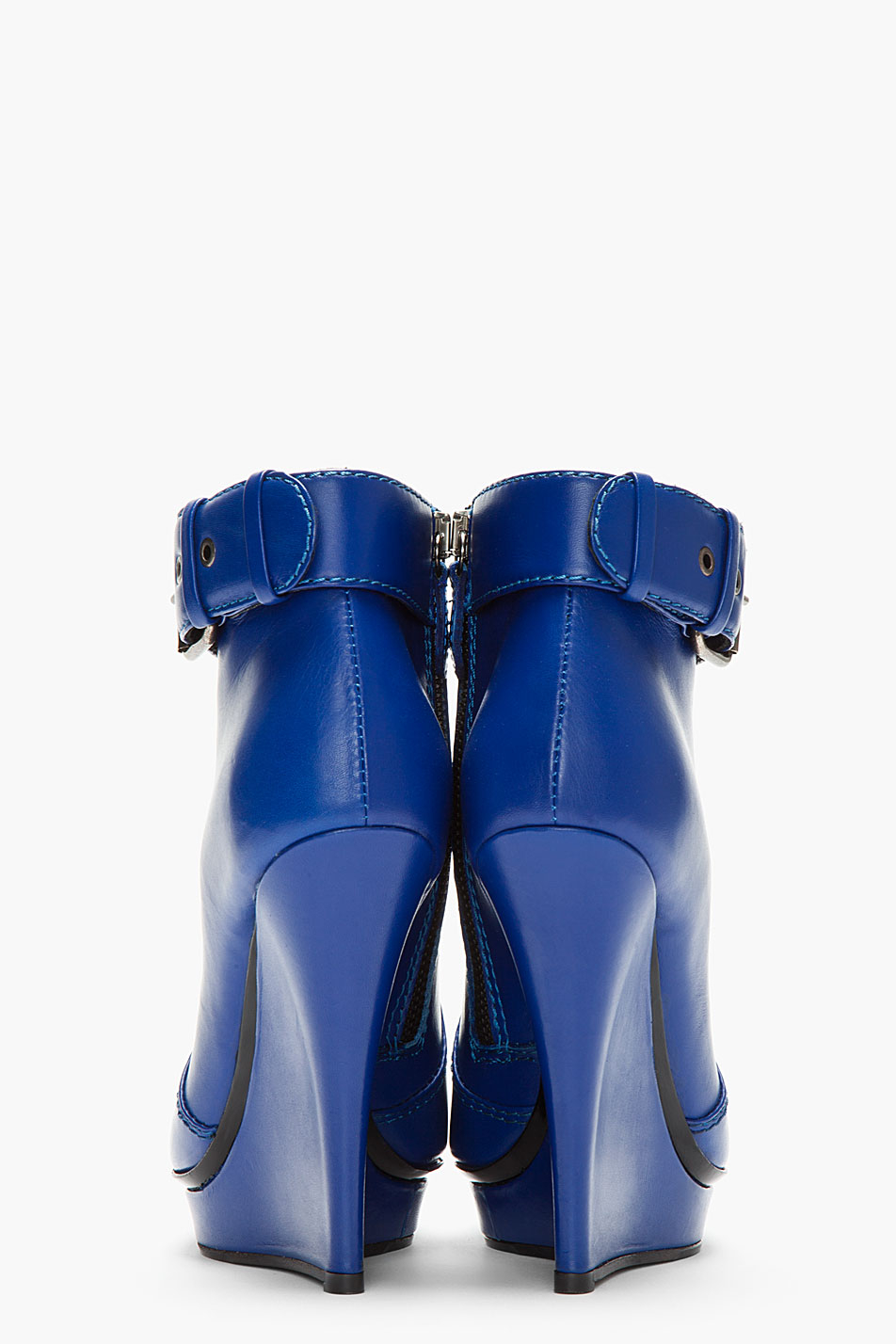 Mcq Blue Leather Slim Wedge Biker Boots In Blue Lyst