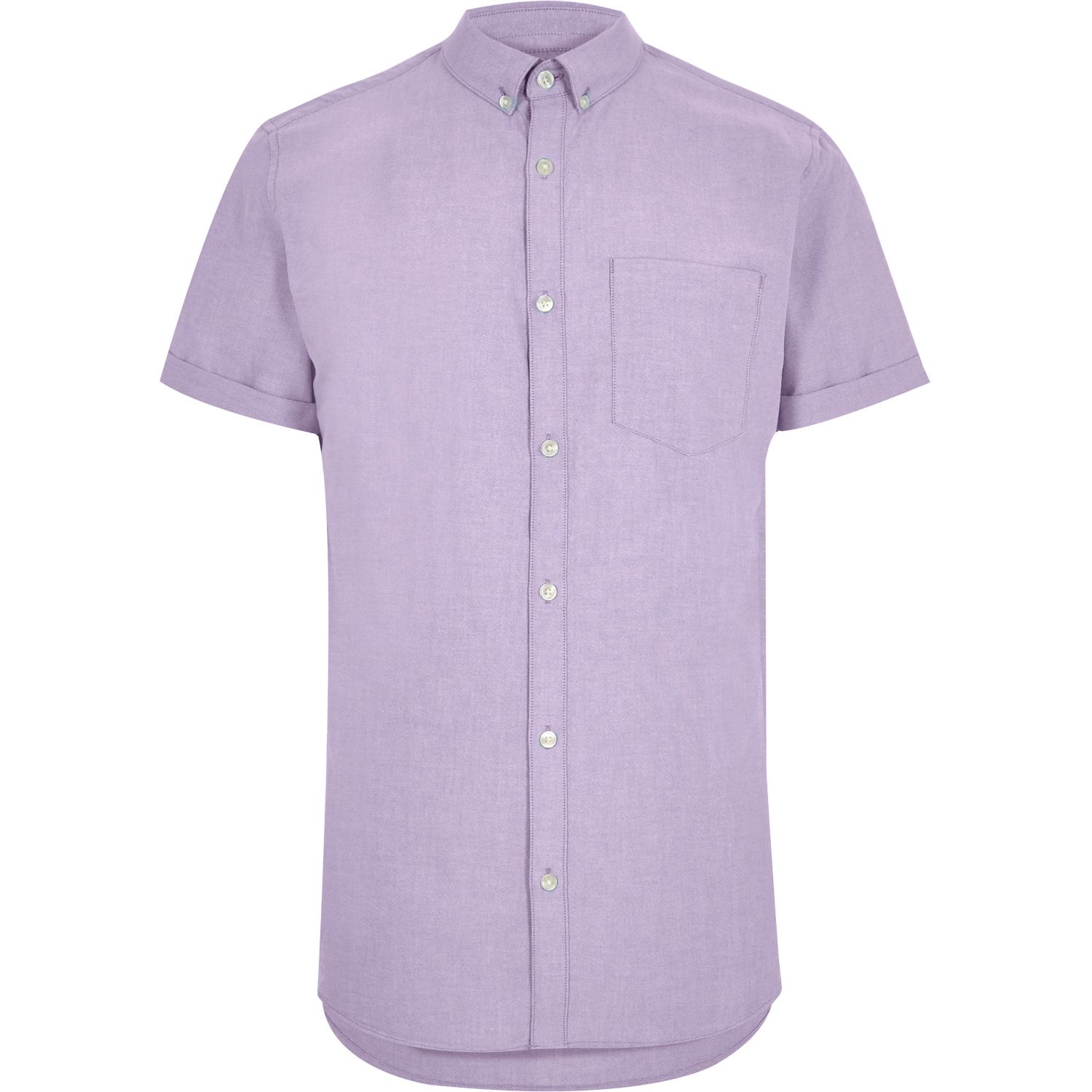 River island light purple short sleeve oxford shirt in Light purple dress shirt men