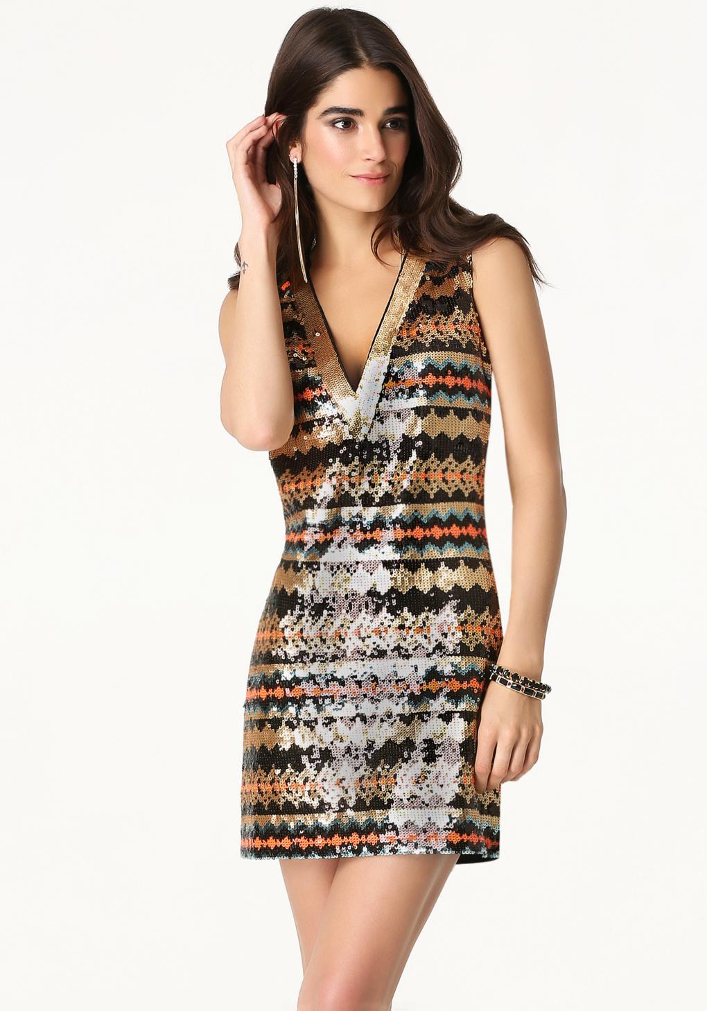 a5768040af8 Bebe Plunge Neck Sequin Dress - Lyst