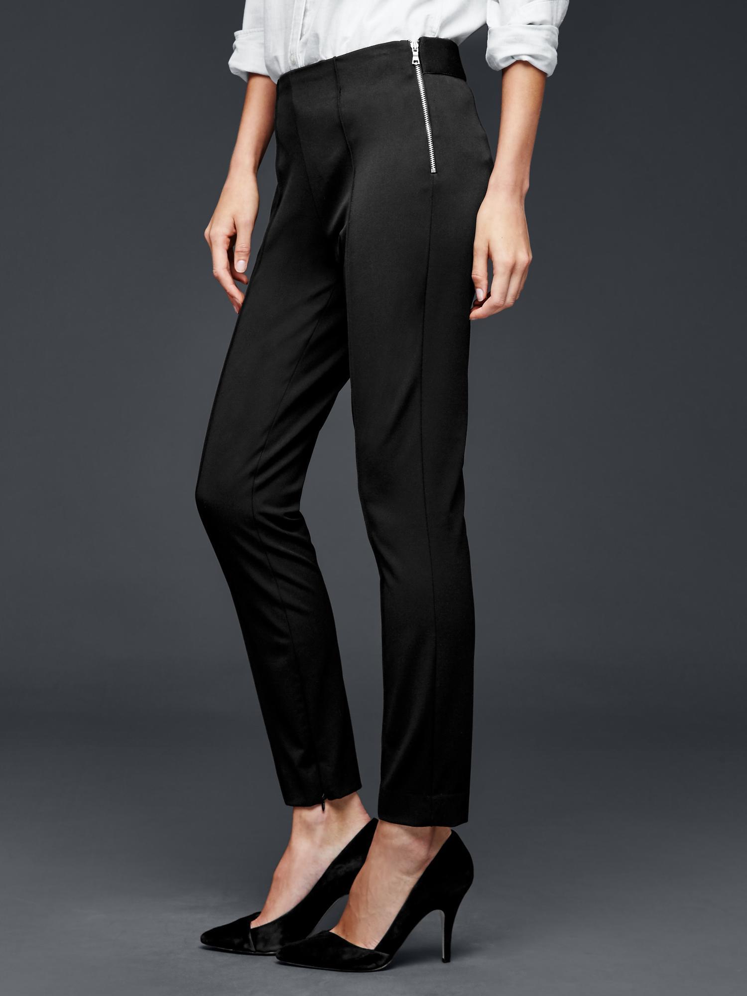 Gap Bi Stretch Side Zip Skinny Pants In Black True Black