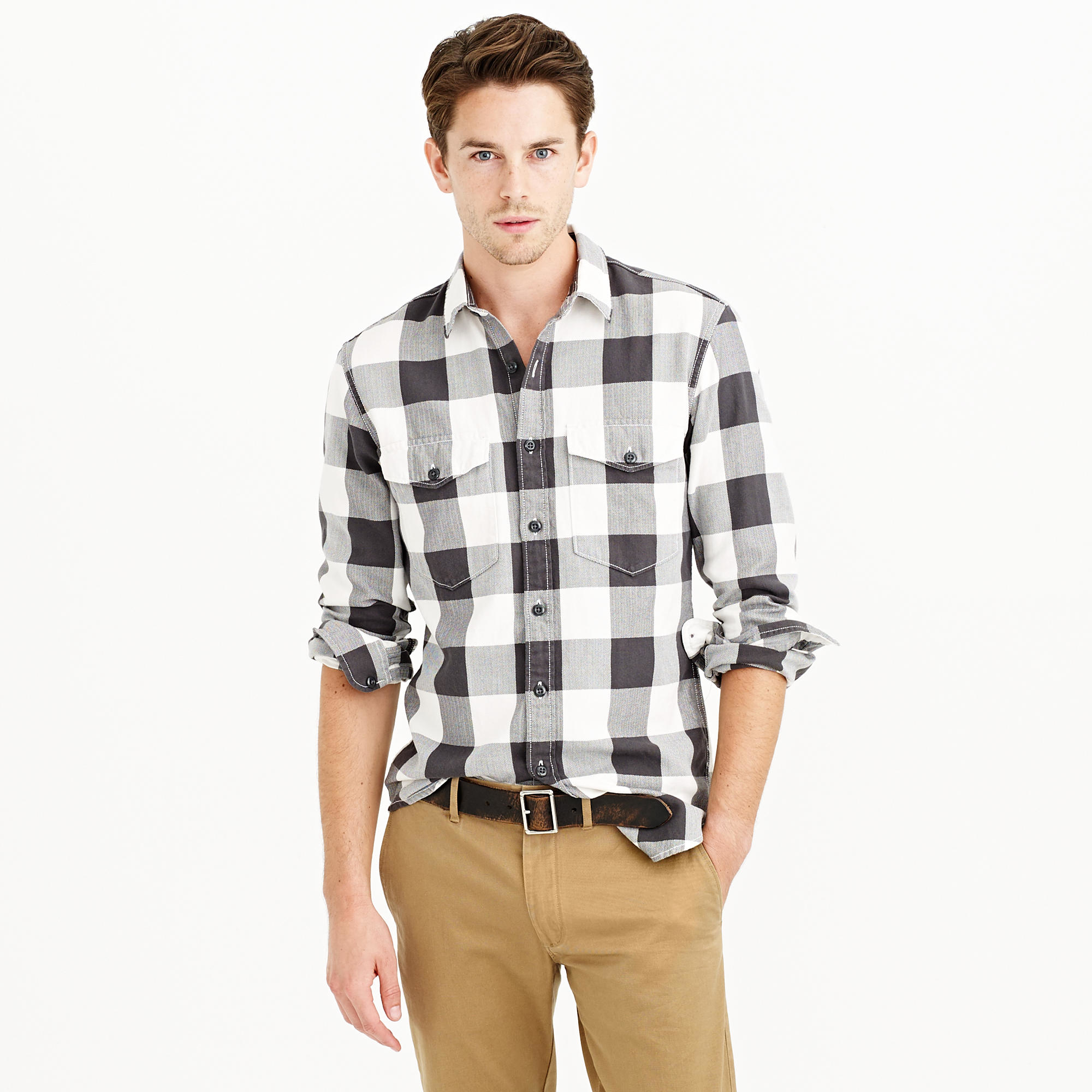 Herringbone flannel shirt in buffalo check in black for Buffalo plaid men s shirt