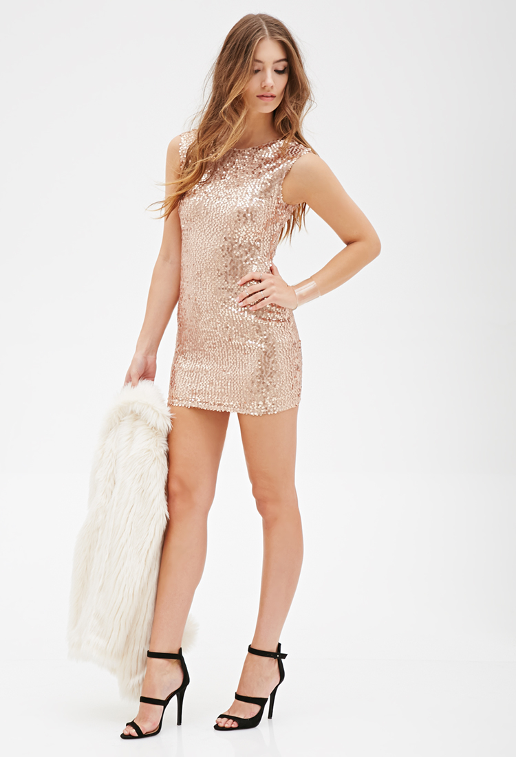forever 21 sequined sheath dress in pink  lyst