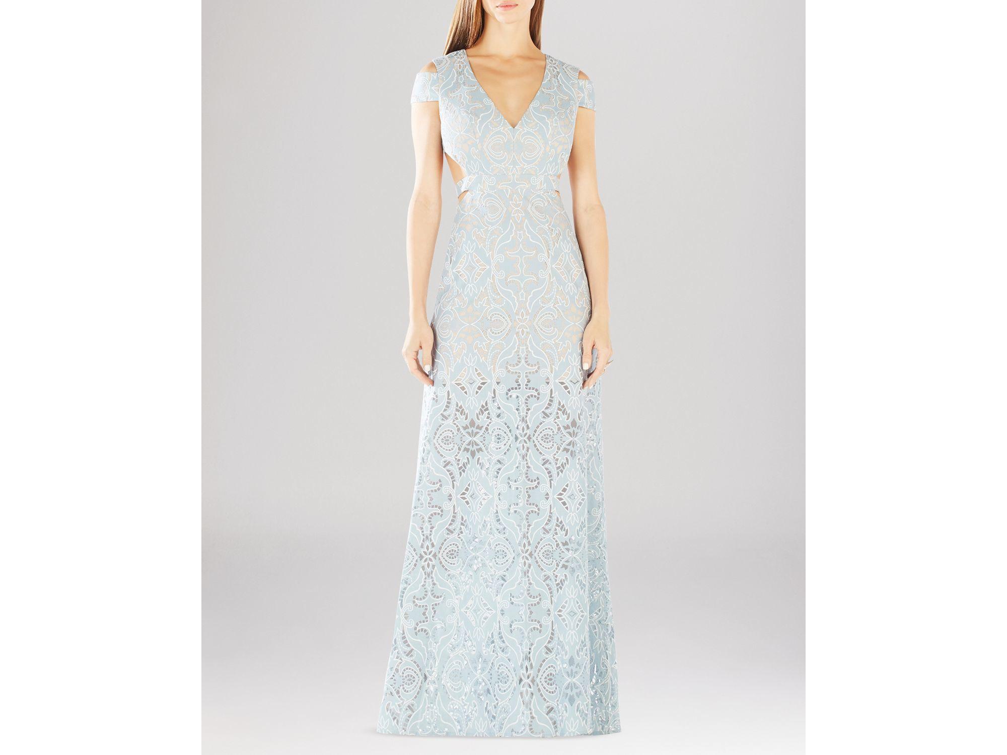 Lyst - Bcbgmaxazria Ava Cutout Lace Gown in Blue